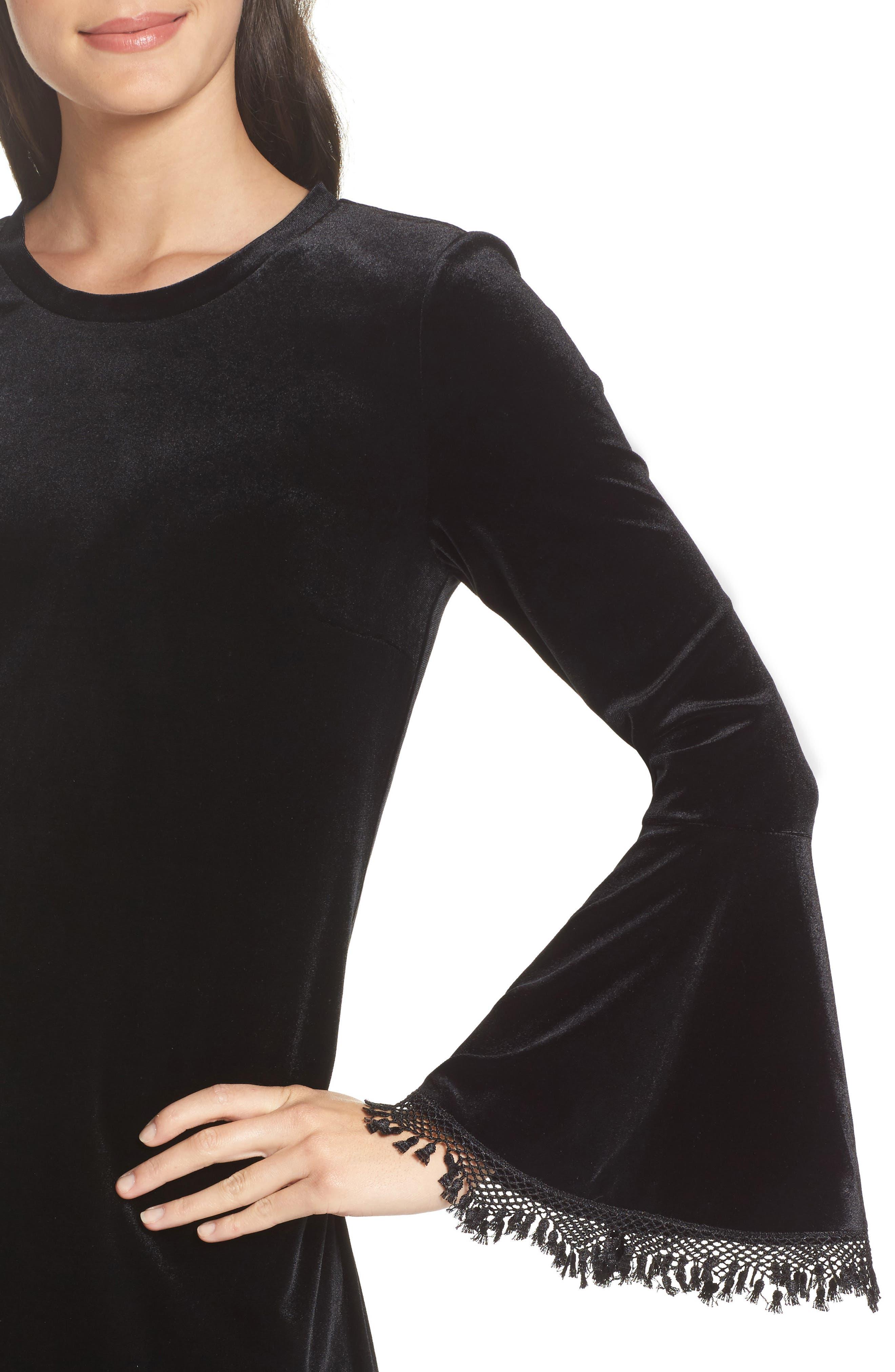 Hallie Bell Sleeve Velvet Dress,                             Alternate thumbnail 4, color,                             001