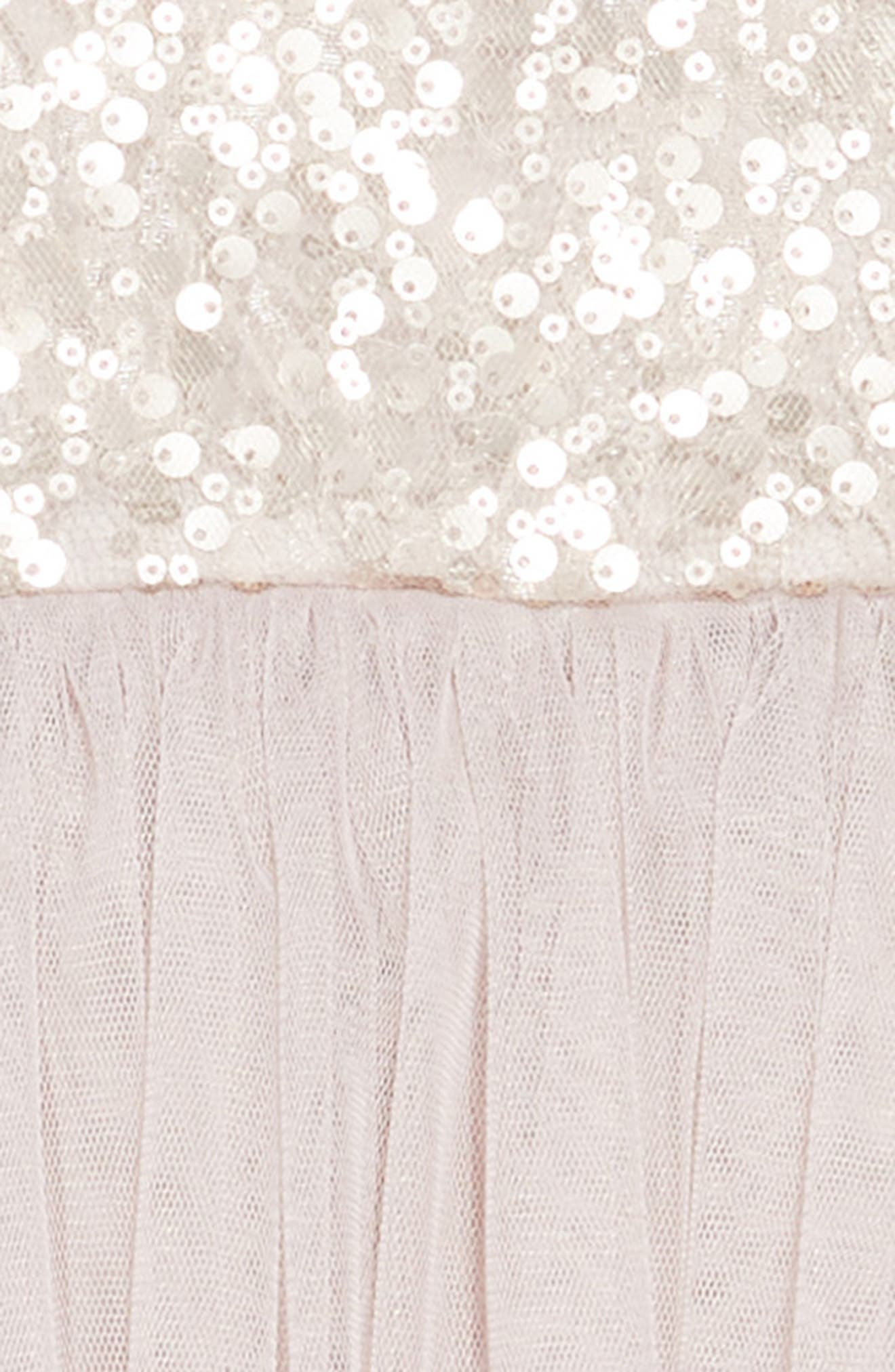 Sequin & Tulle Dress,                             Alternate thumbnail 3, color,                             TAUPE