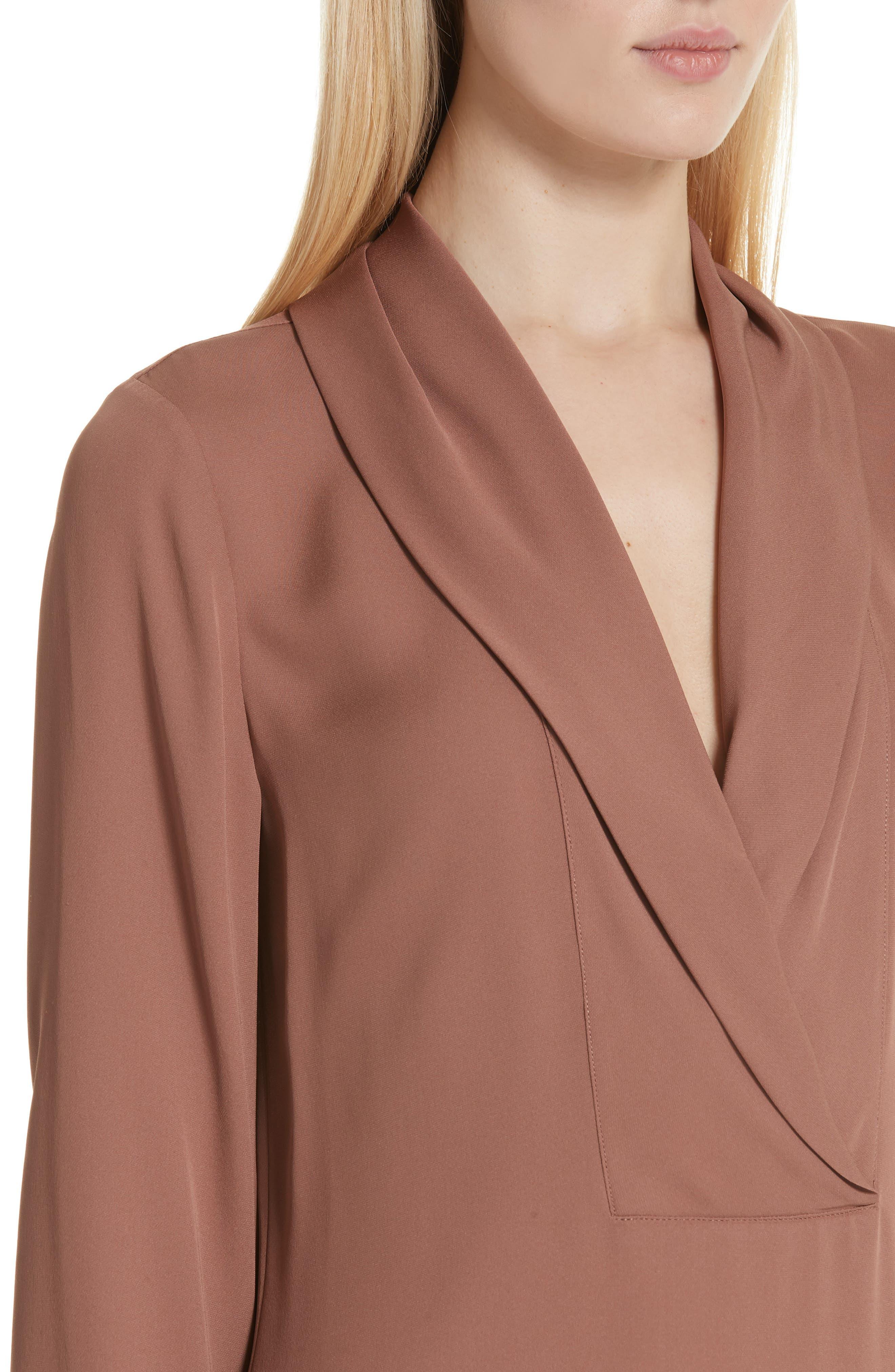 Shawl Collar Silk Blouse,                             Alternate thumbnail 4, color,                             600