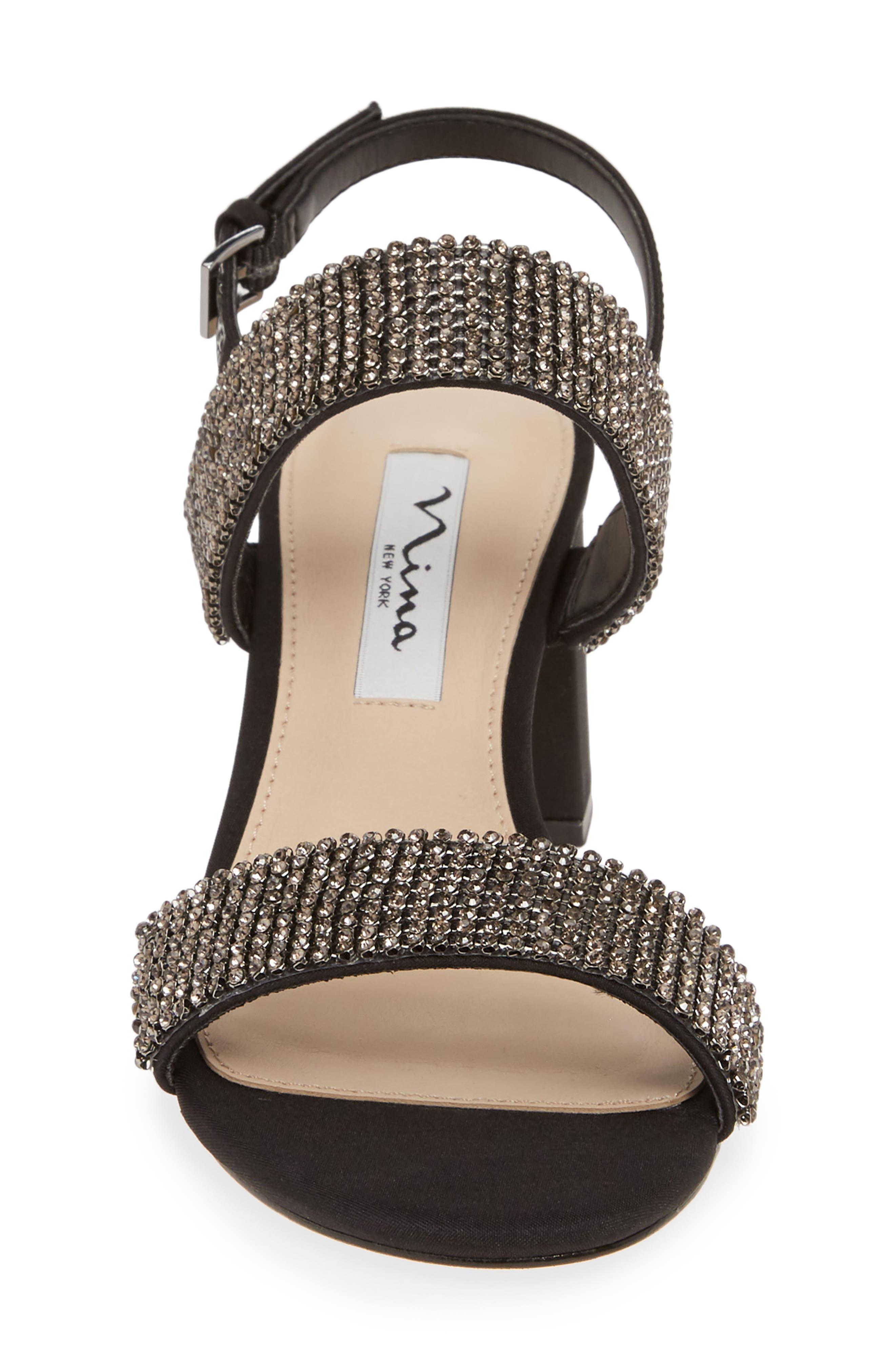 Naomi Crystal Embellished Sandal,                             Alternate thumbnail 4, color,                             BLACK FABRIC