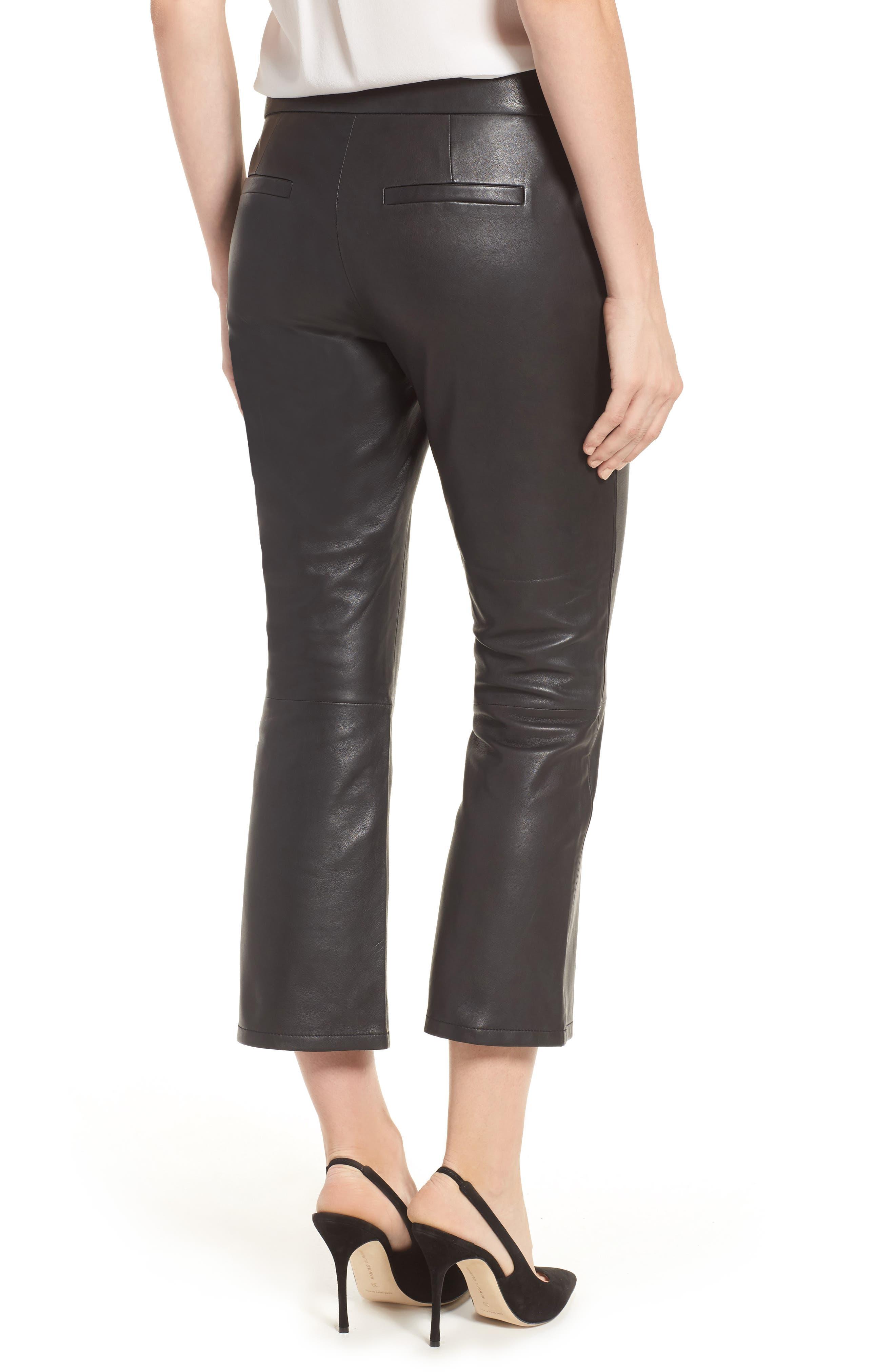 Crop Flare Leather Pants,                             Alternate thumbnail 2, color,                             001