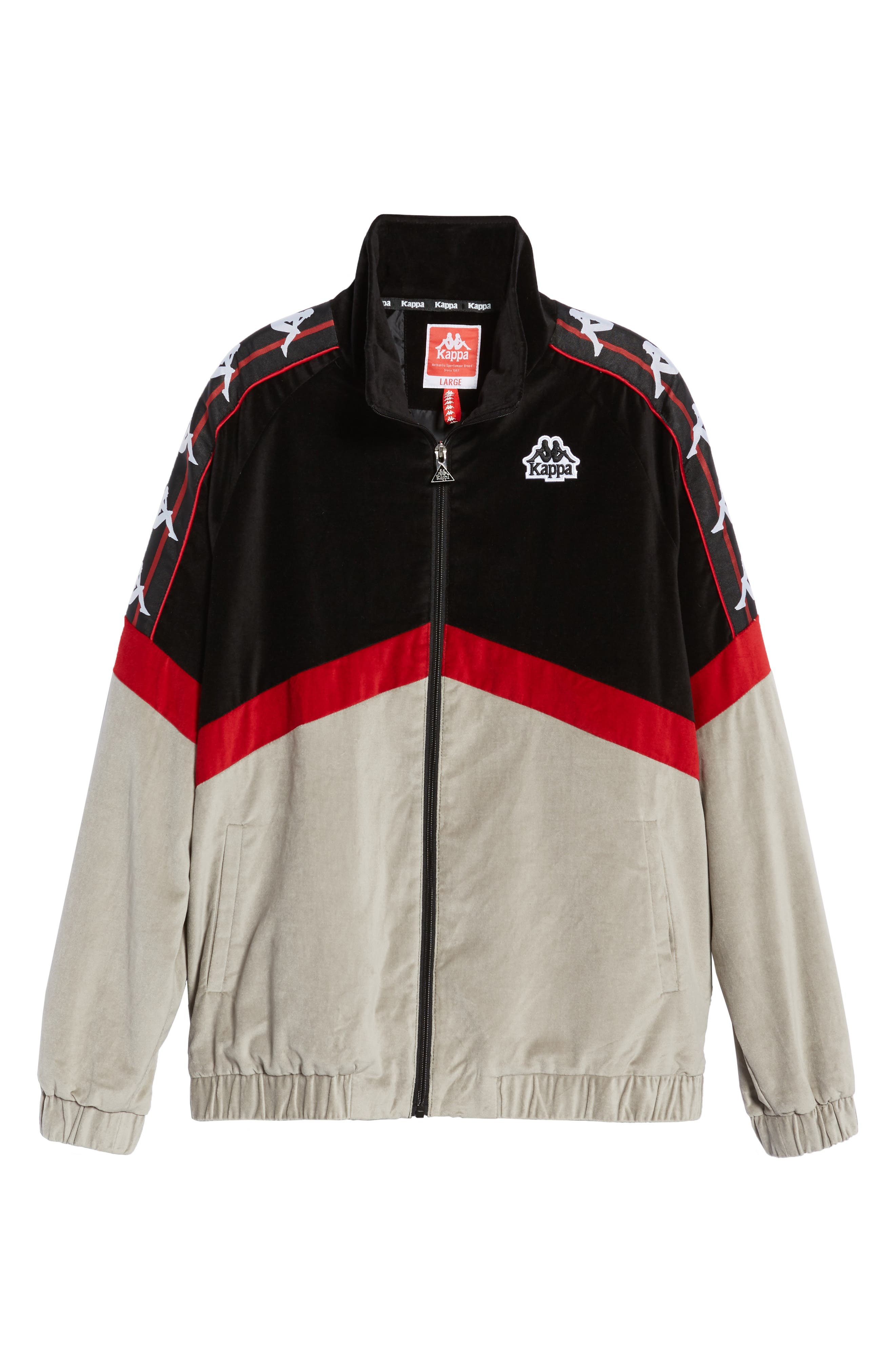 Authentic Cabrini Track Jacket,                             Alternate thumbnail 6, color,                             BLACK/ RED/ GREY