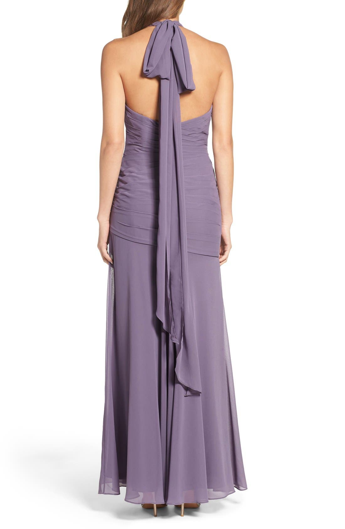 Chiffon Halter Gown,                             Alternate thumbnail 5, color,
