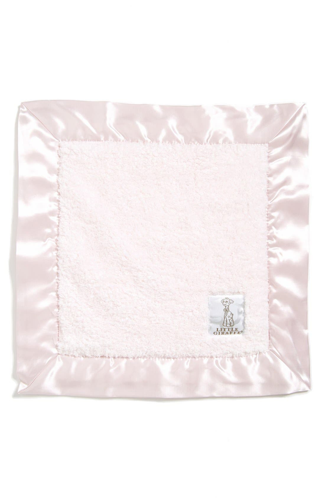LITTLE GIRAFFE,                             Satin Trim Chenille Blanky,                             Main thumbnail 1, color,                             LIGHT PINK