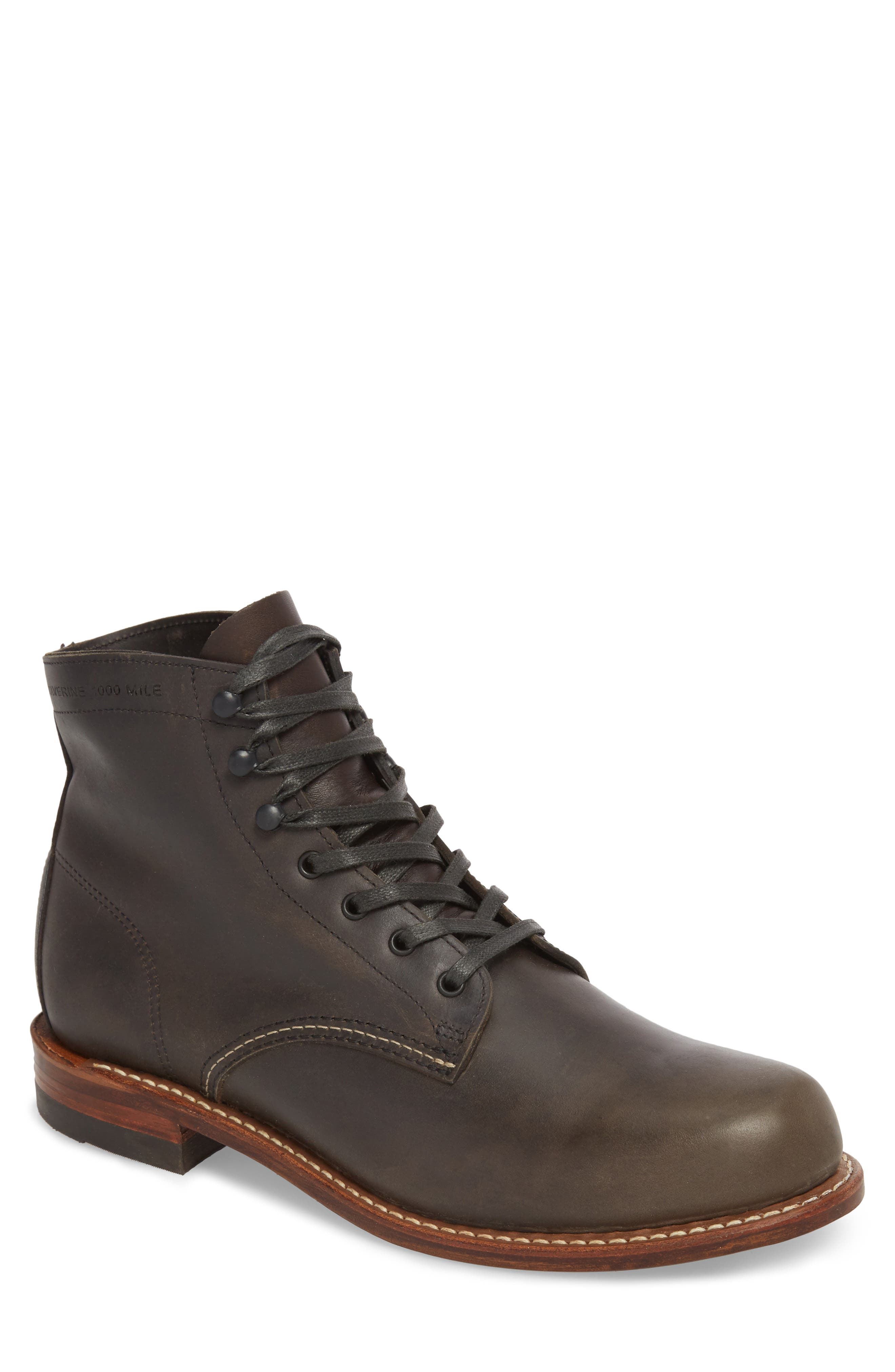 '1000 Mile' Plain Toe Boot,                             Main thumbnail 1, color,                             CHARCOAL