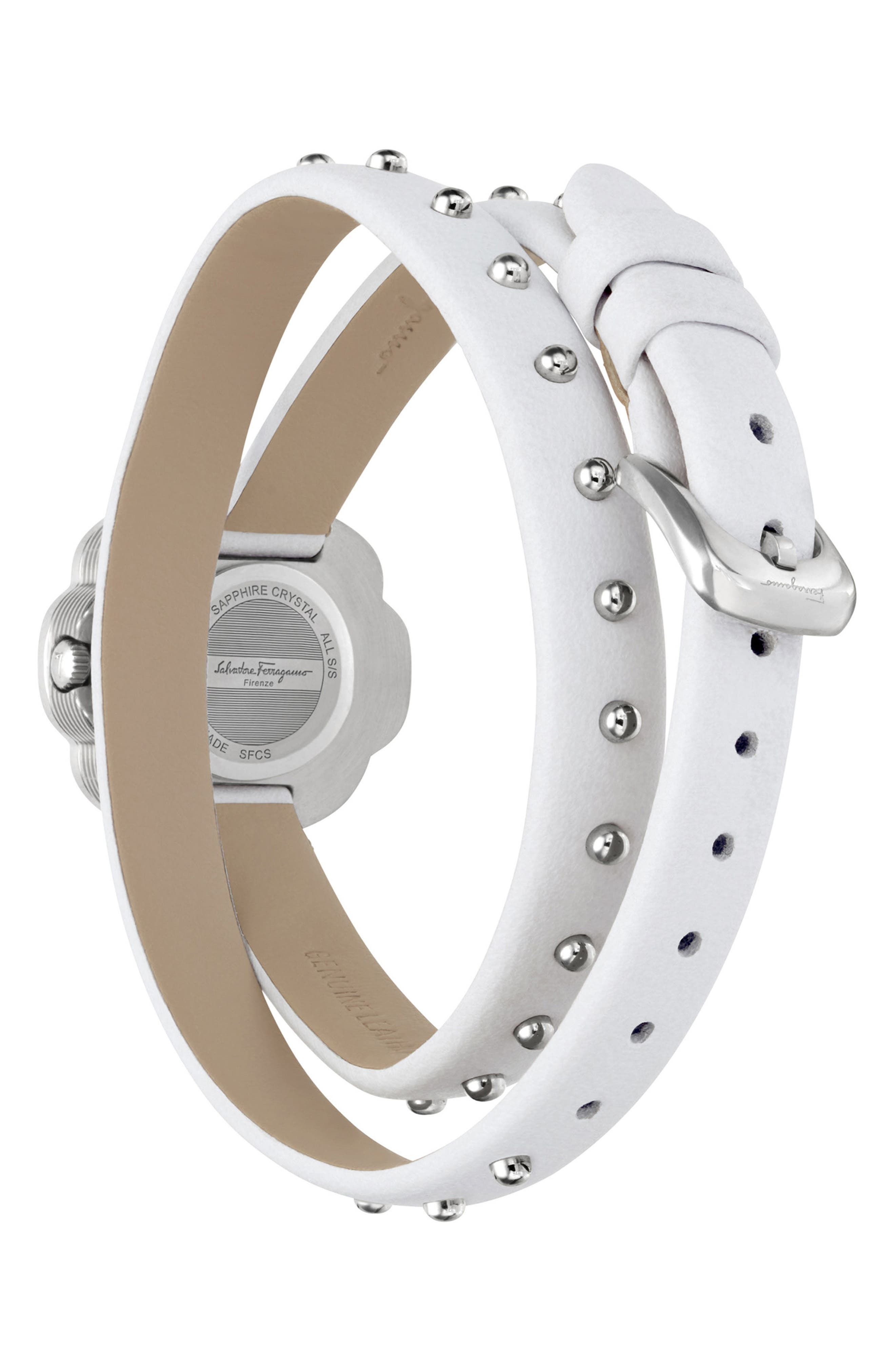 Fiore Leather Strap Watch, 24mm,                             Alternate thumbnail 2, color,                             WHITE/ SILVER