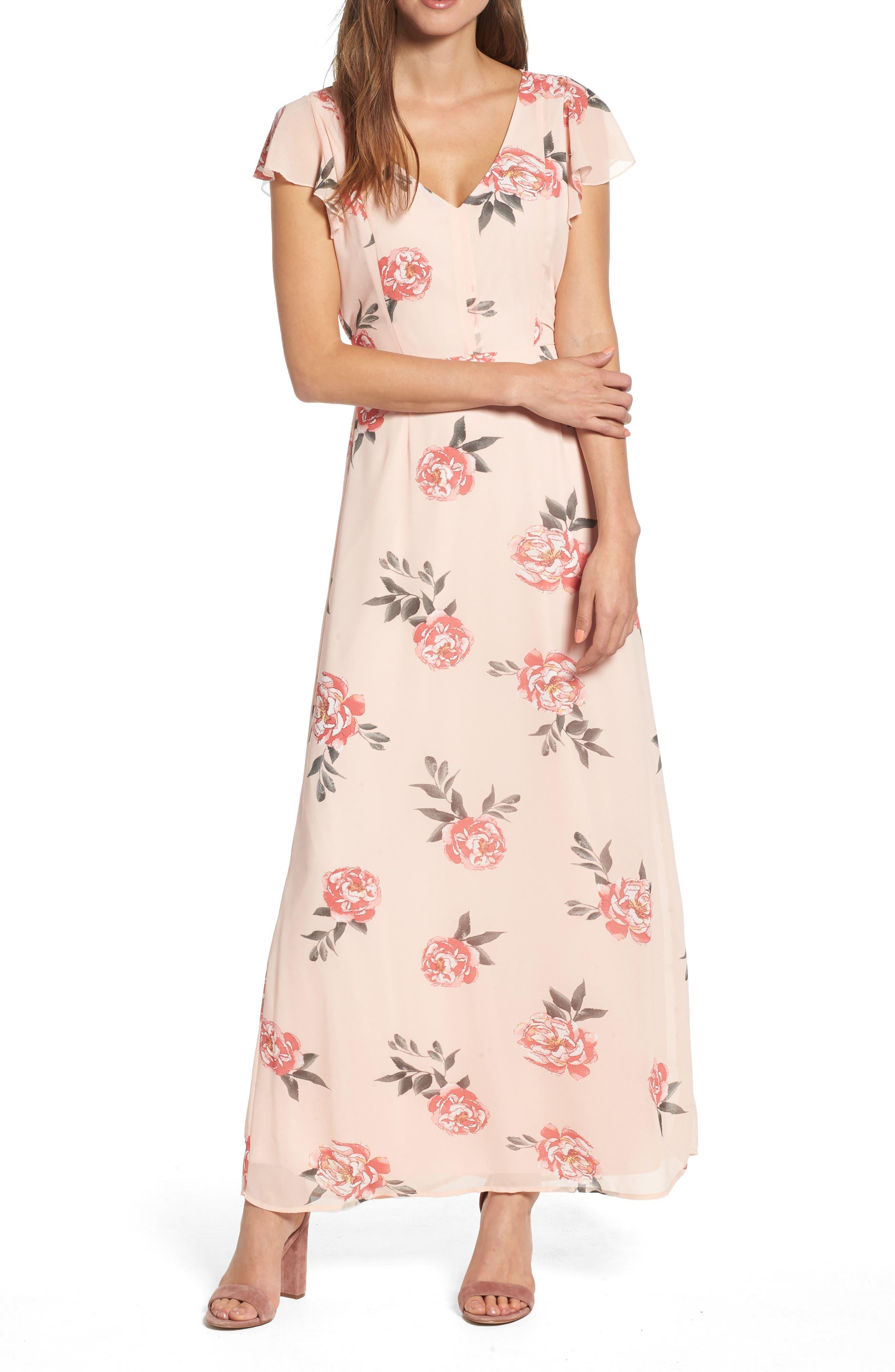 Floral Maxi Dress,                         Main,                         color, LIGHT PEACH