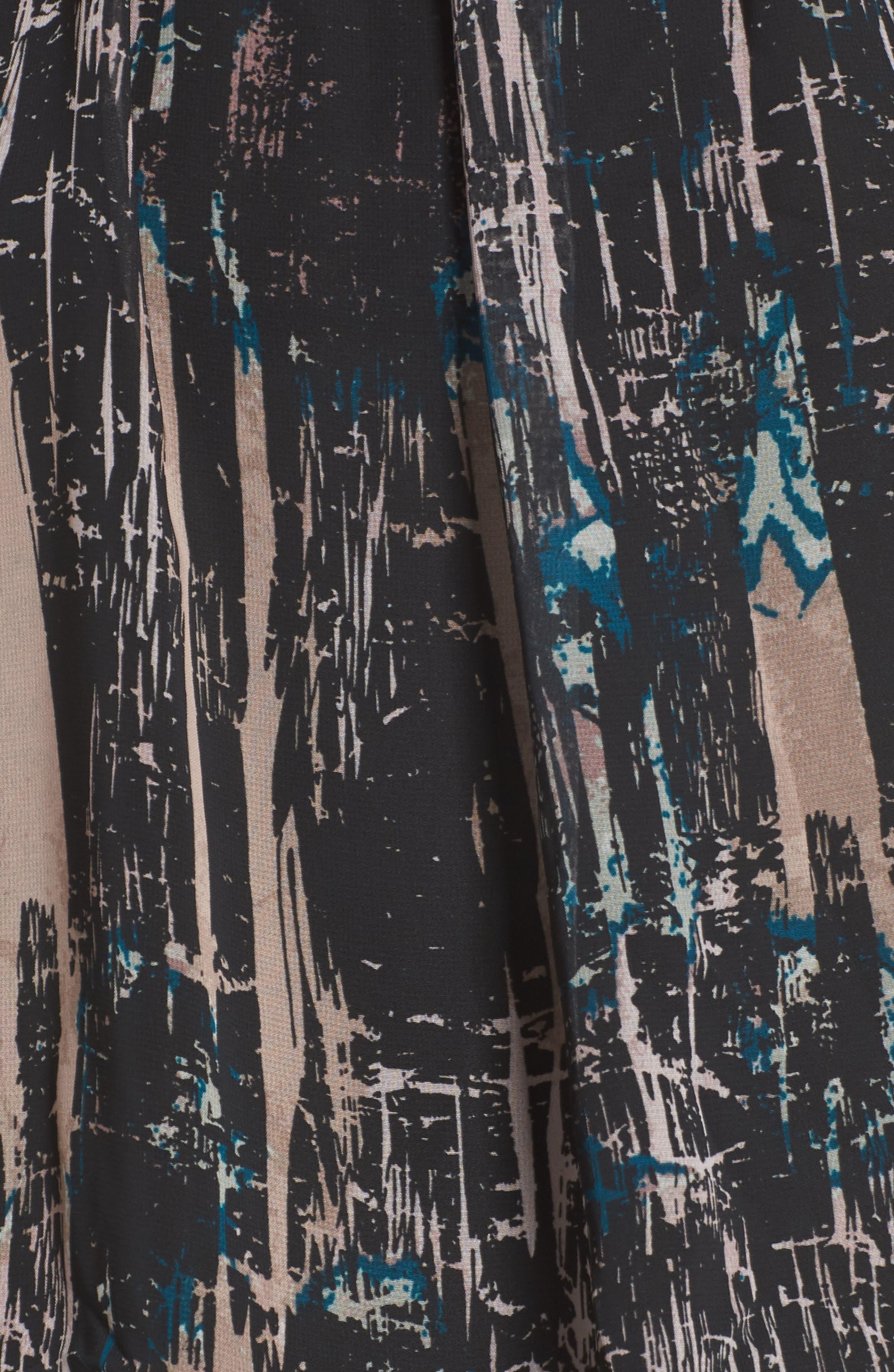 Halter Chiffon Jumpsuit,                             Alternate thumbnail 5, color,                             BLACK SPLATTER