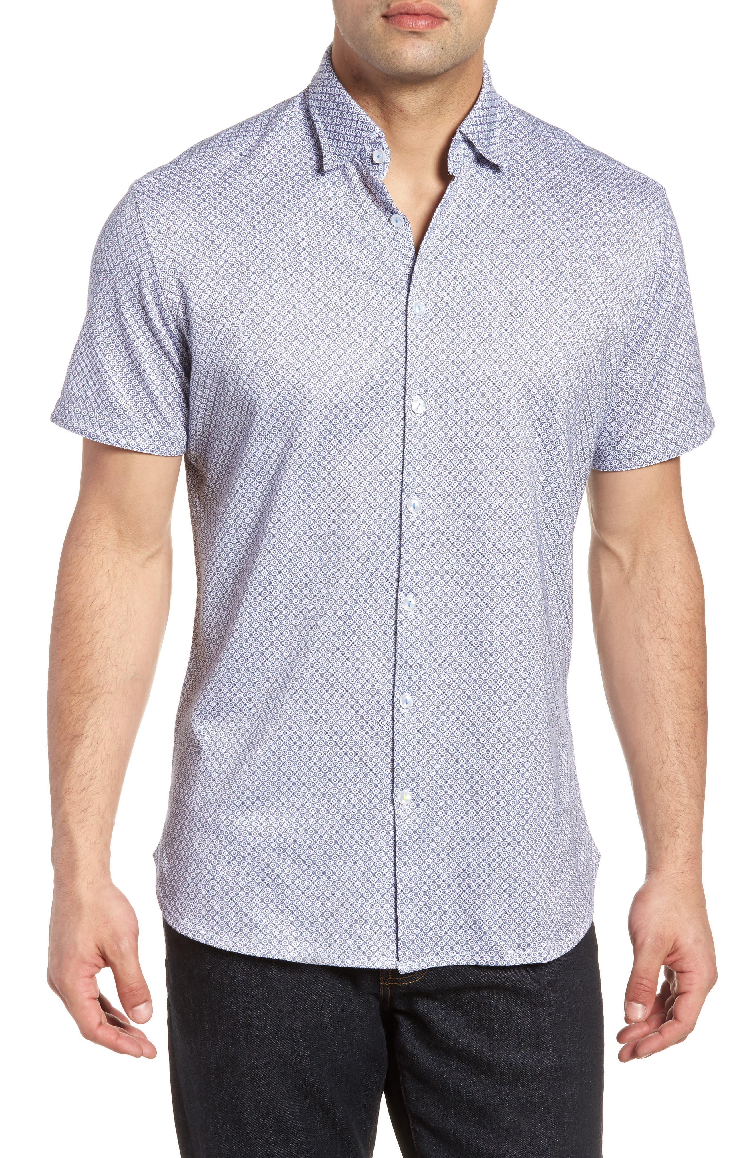 Contemporary Fit Geo Tech Sport Shirt,                             Main thumbnail 1, color,                             WHITE