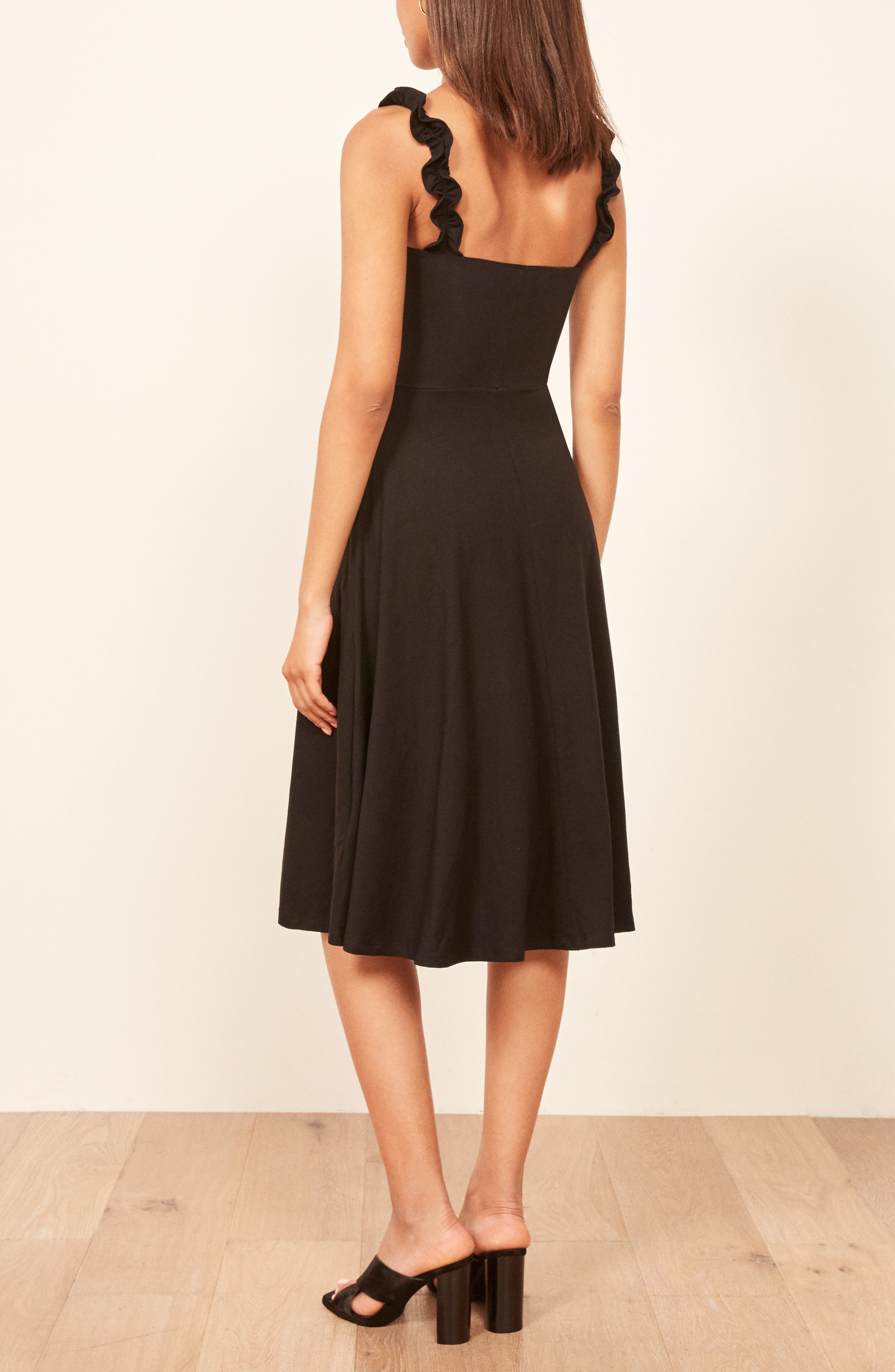 Eda Ruffle Strap Dress,                             Alternate thumbnail 3, color,                             BLACK