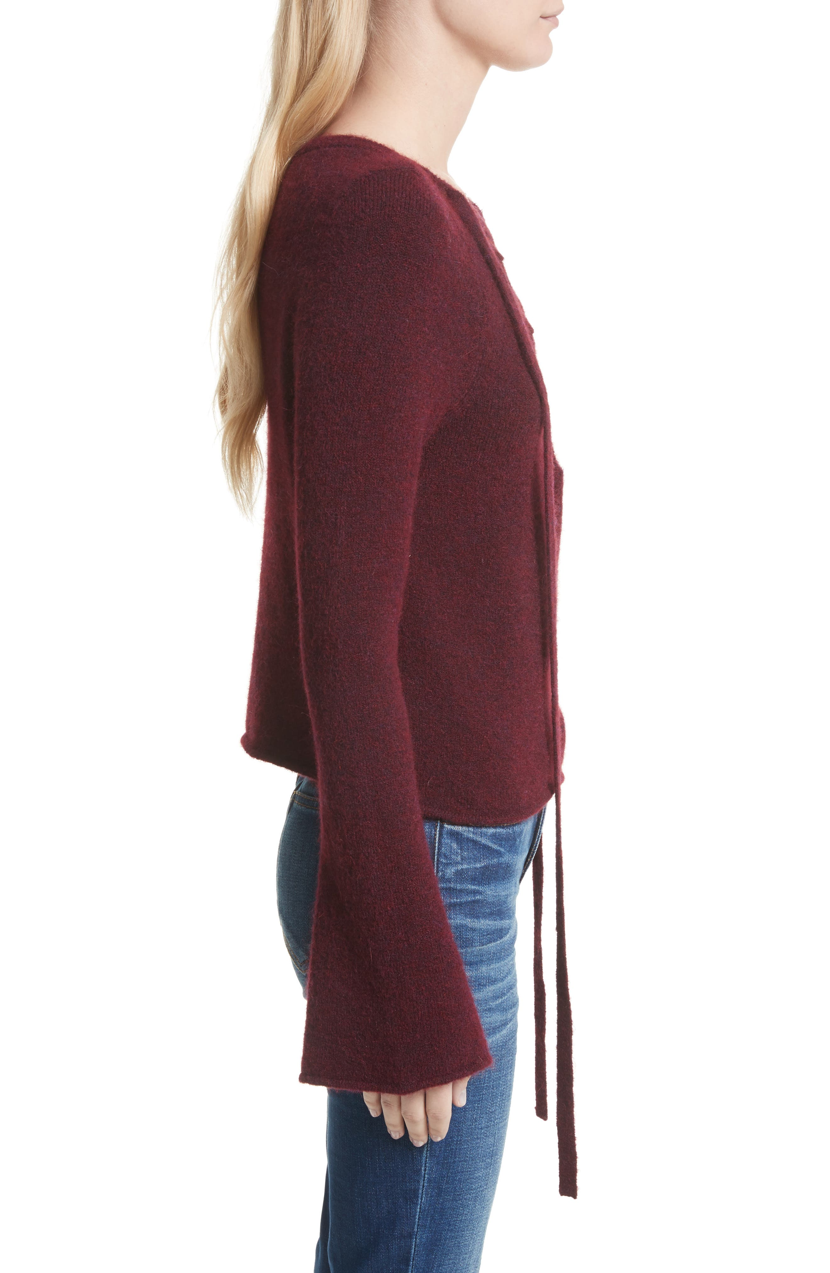 Candela Lace-Up Sweater,                             Alternate thumbnail 3, color,                             600