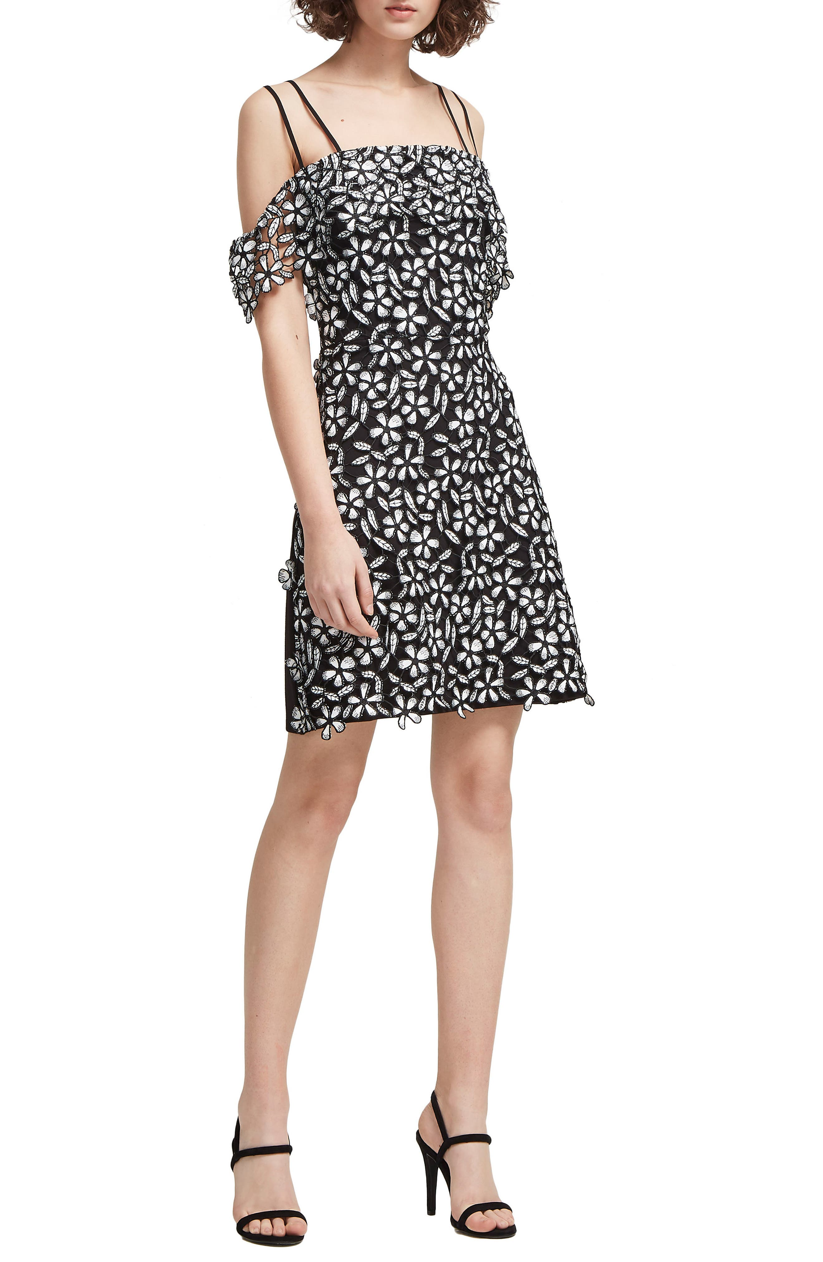 Fulaga Floral Lace Cold Shoulder Dress,                             Main thumbnail 1, color,                             001