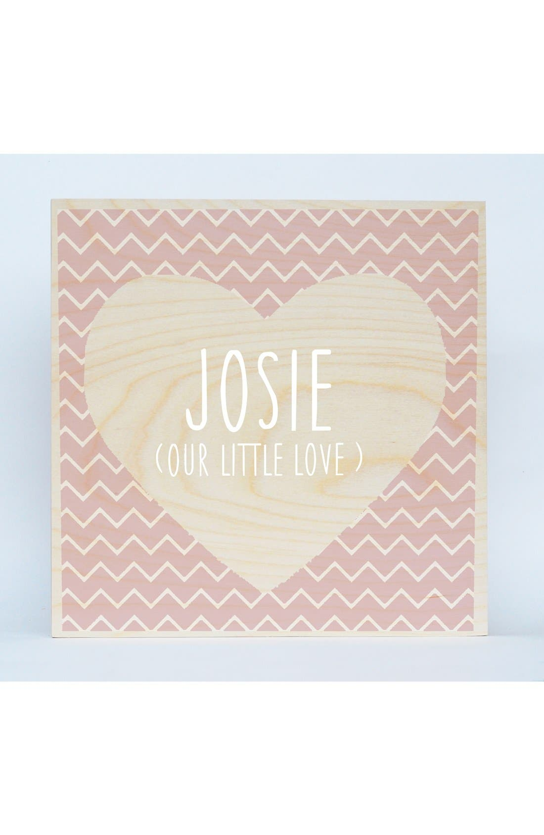 'Chevron Heart' Personalized Birchwood Wall Art,                             Main thumbnail 1, color,                             650