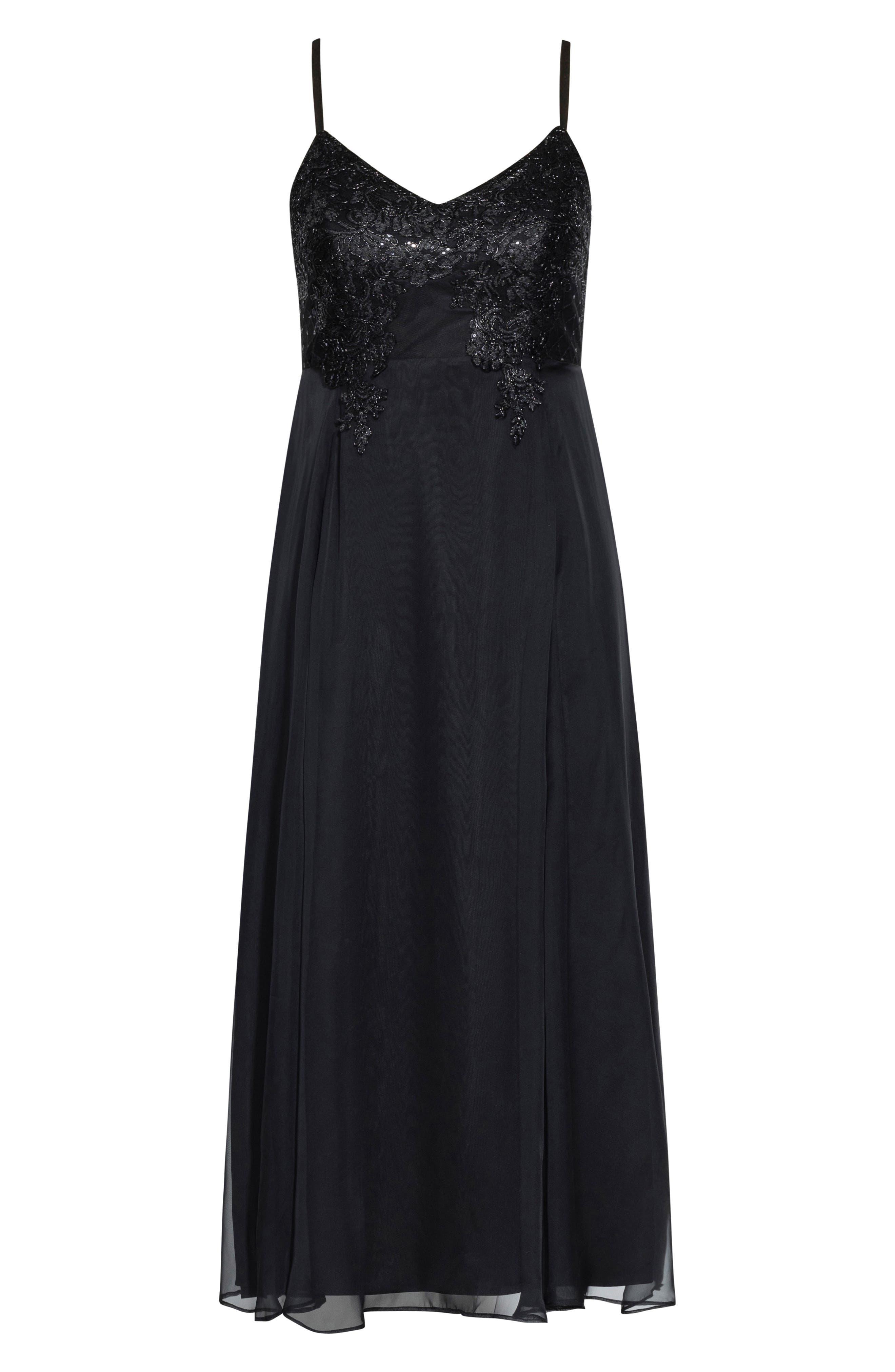 Divine Sequin Bodice Gown,                             Alternate thumbnail 3, color,                             BLACK
