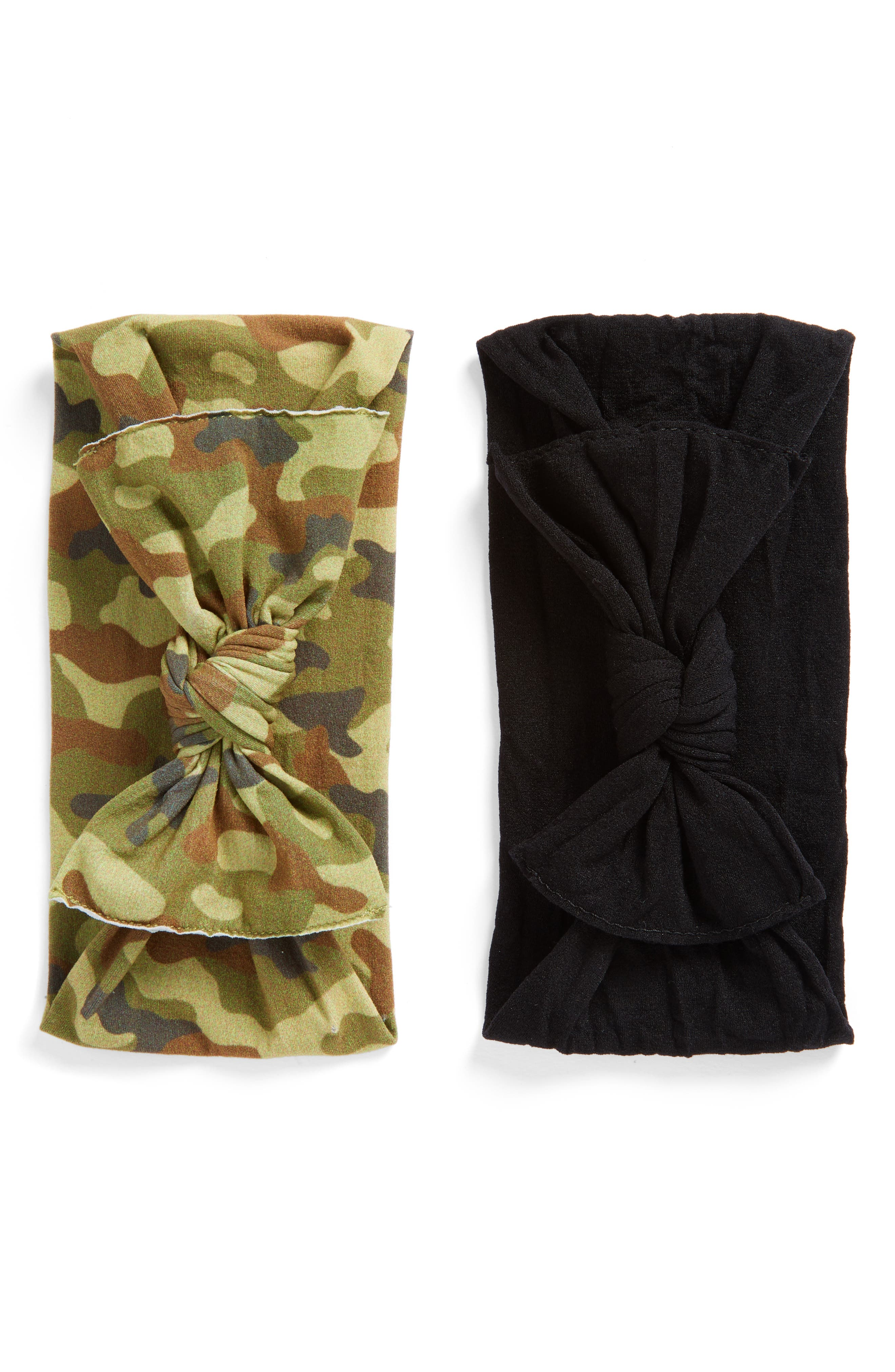 BABY BLING 2-Pack Knotted Headbands, Main, color, NEW CAMO/ BLACK