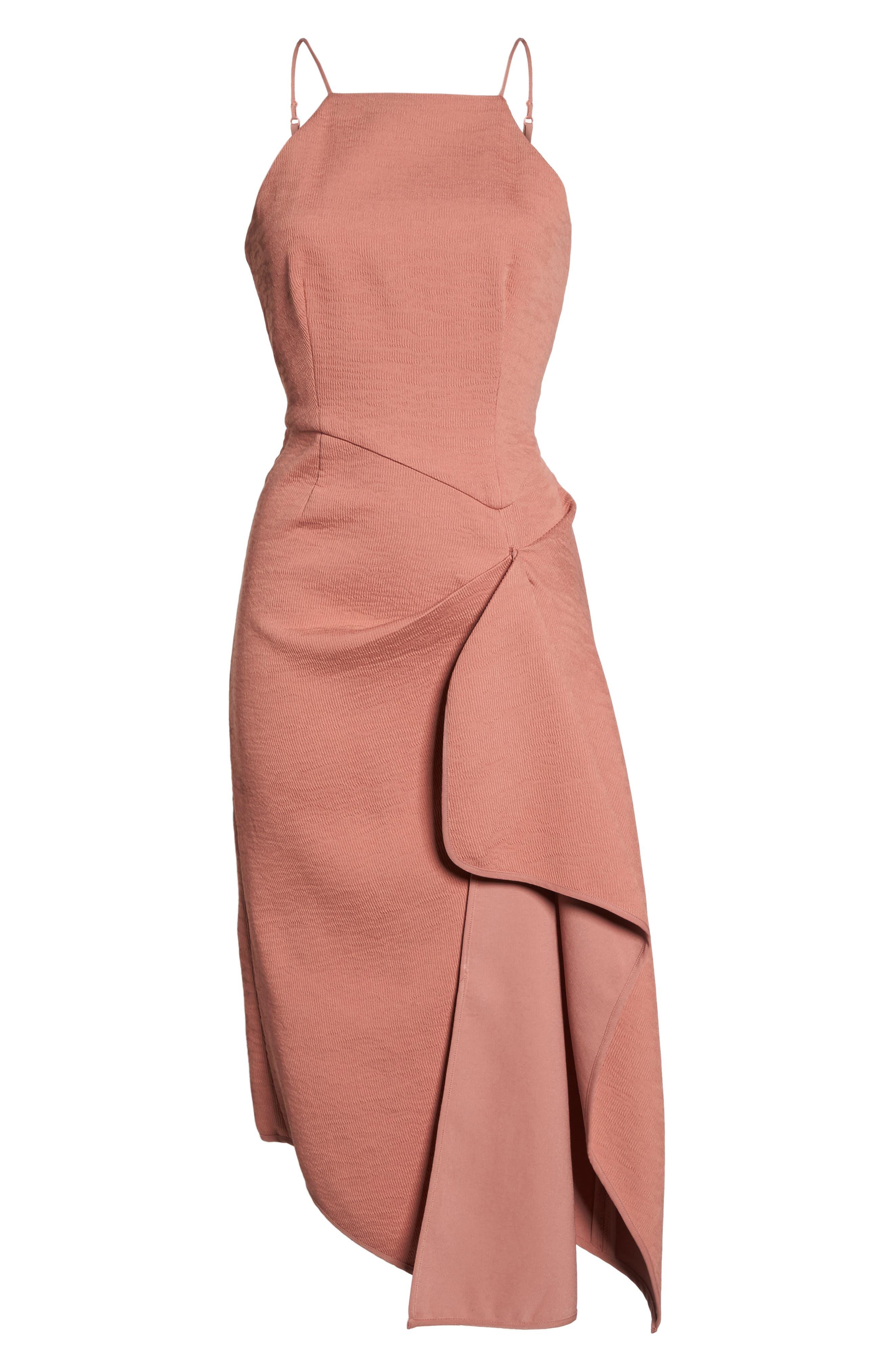 Fluidity Draped Midi Dress,                             Alternate thumbnail 6, color,