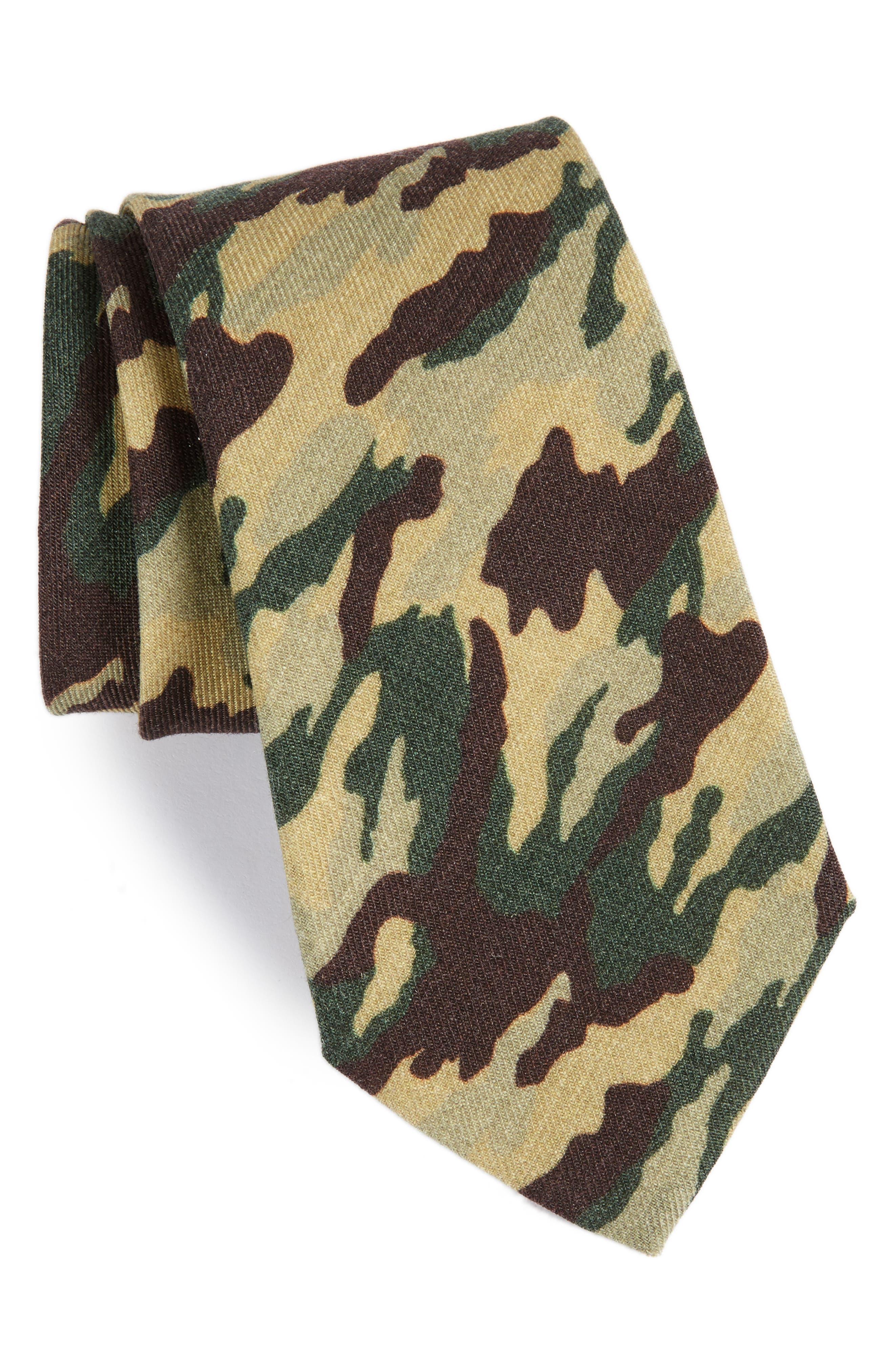 Camo Print Wool Tie,                             Main thumbnail 1, color,                             200