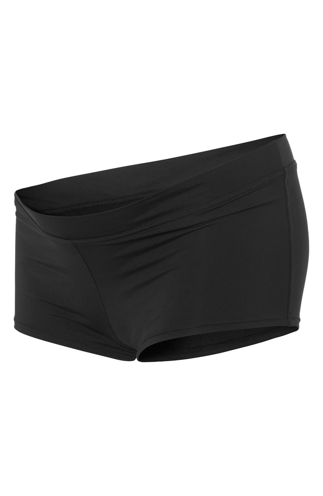 NOPPIES,                             'Saint Tropez' Maternity Boyshort Swim Bottoms,                             Alternate thumbnail 3, color,                             BLACK