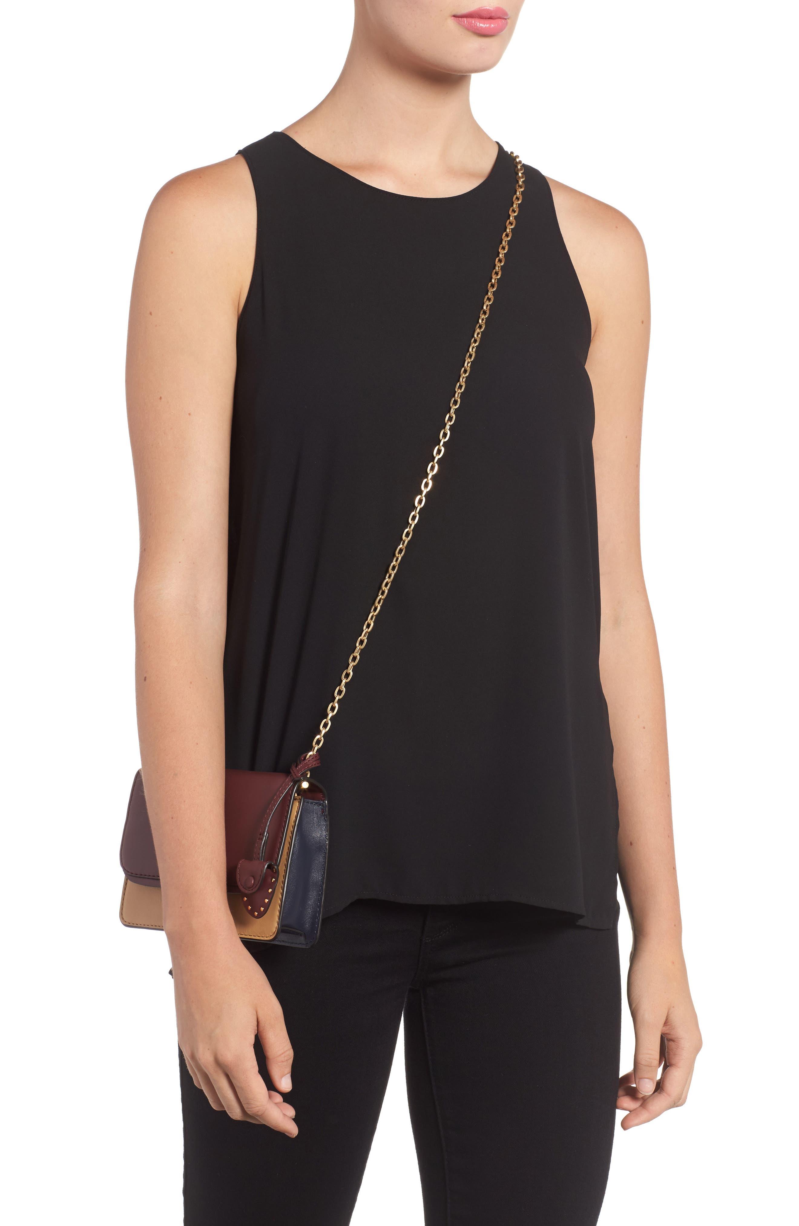 Mini Chain Leather Crossbody Bag,                             Alternate thumbnail 2, color,                             600
