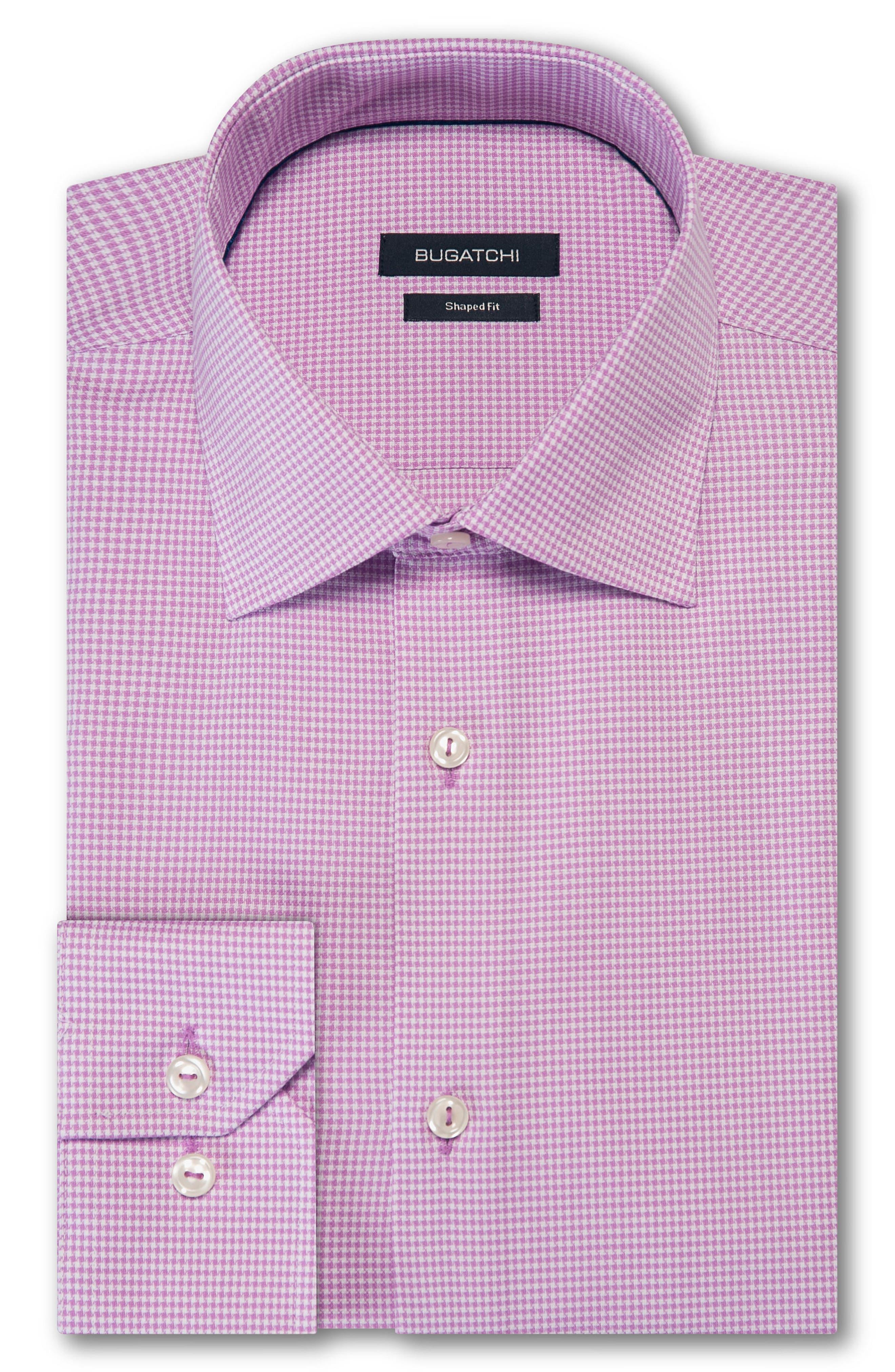men's big & tall bugatchi trim fit houndstooth dress shirt, size 18 - pink