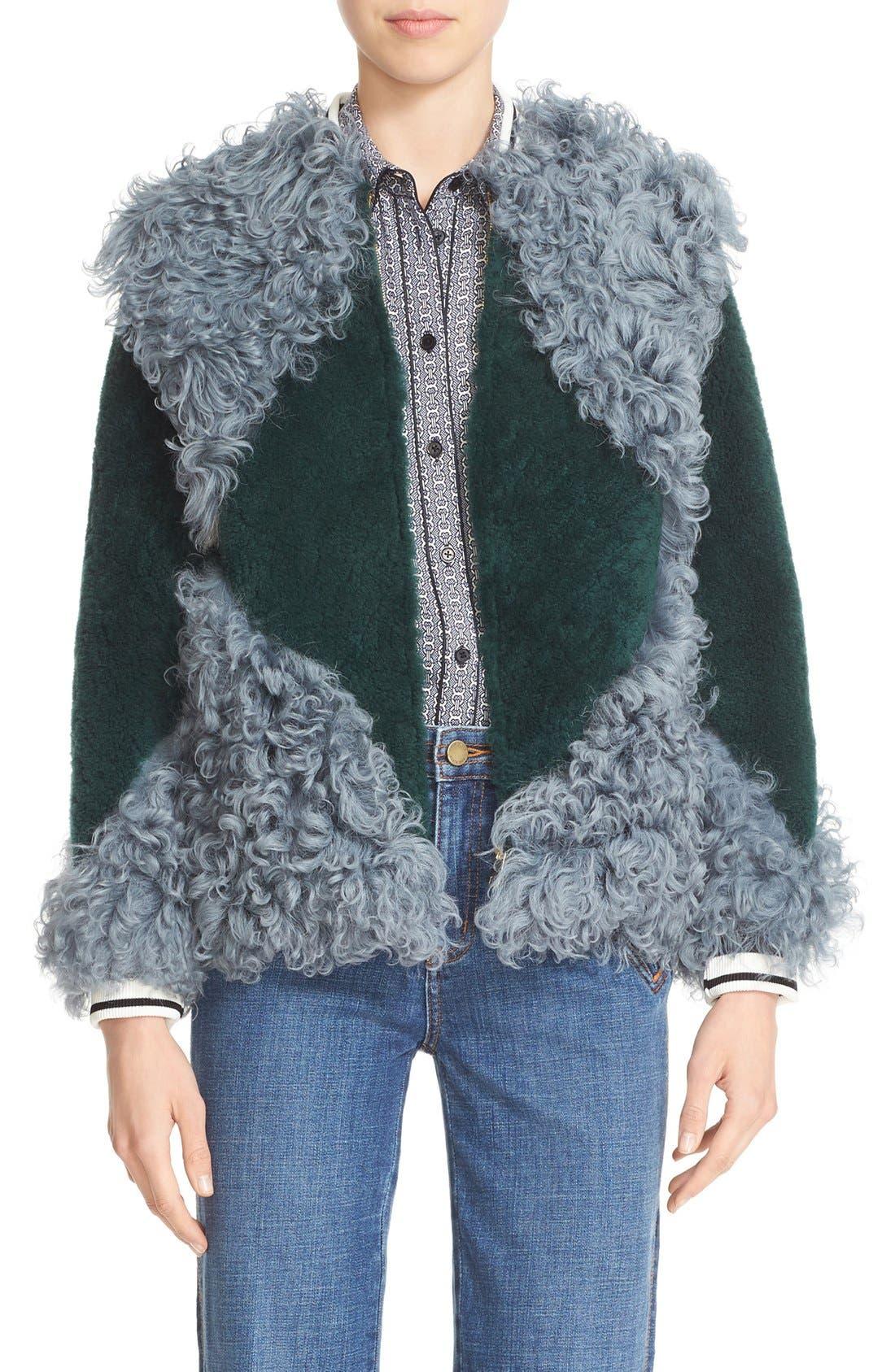 'Bristol' Colorblock Genuine Shearling Jacket,                             Main thumbnail 1, color,                             318