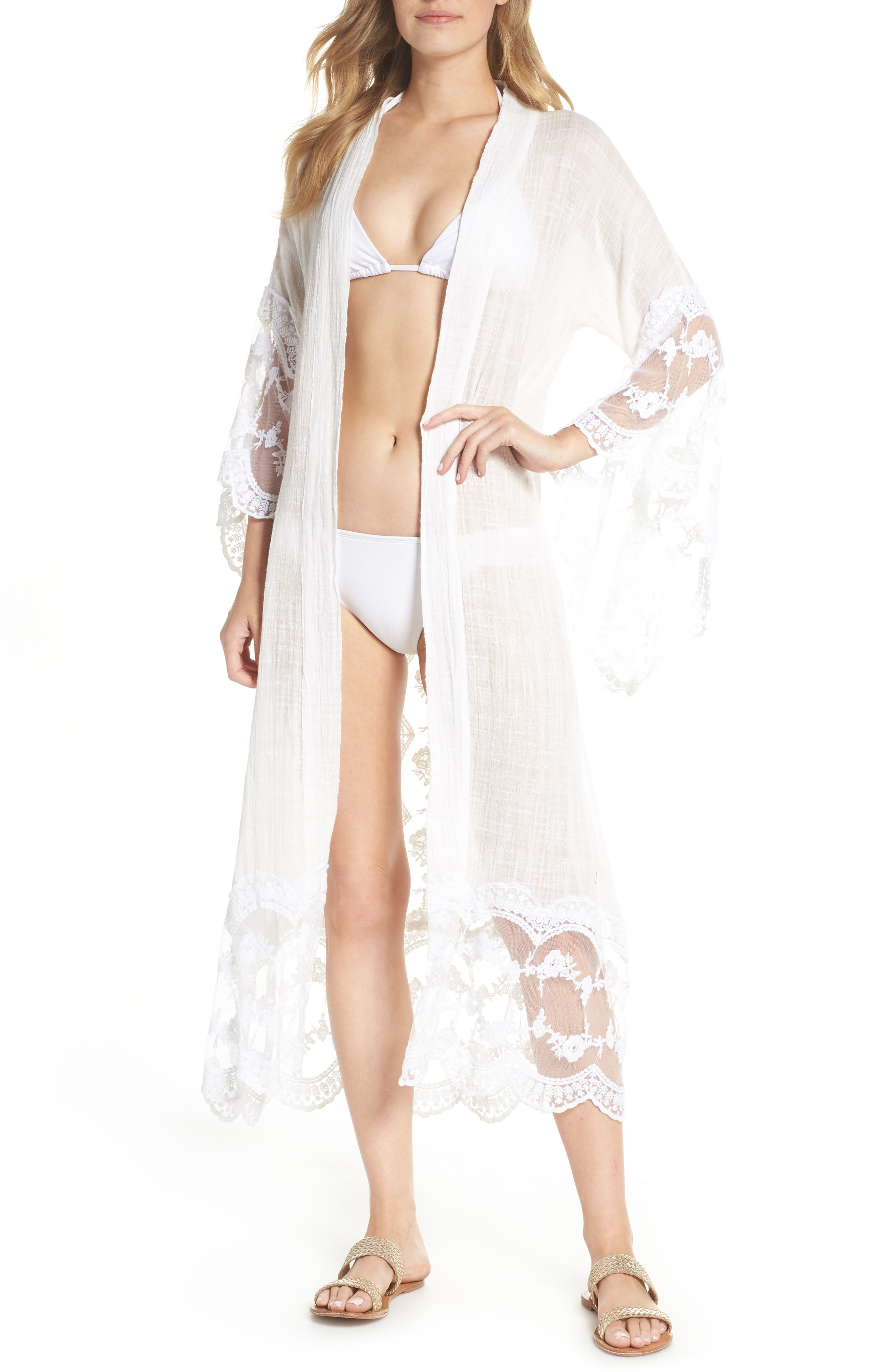 MUCHE ET MUCHETTE Jaus Open Front Long Cover-Up in White