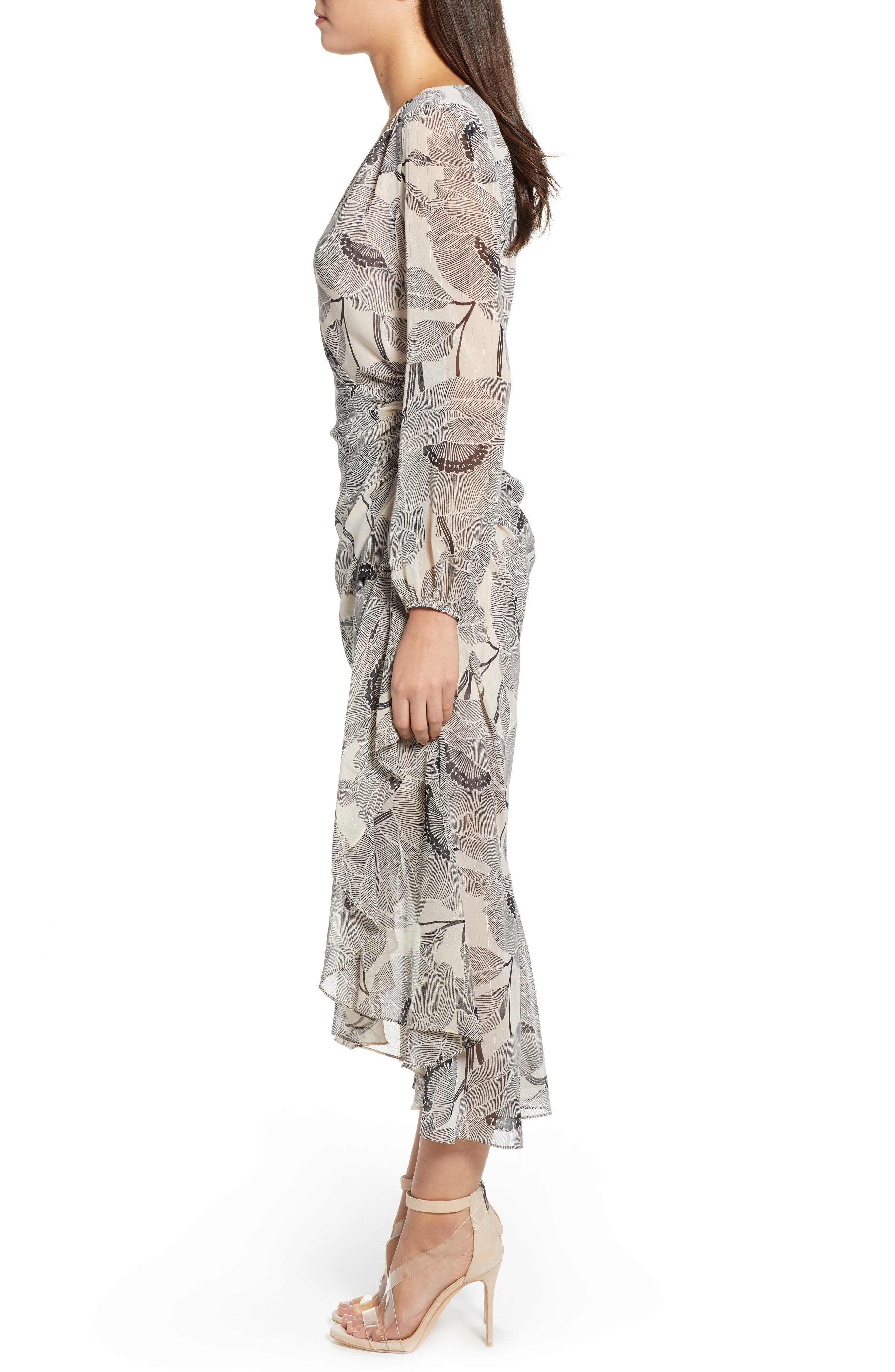 ASTR THE LABEL,                             Floral Print Faux Wrap Dress,                             Alternate thumbnail 3, color,                             IVORY FLORAL