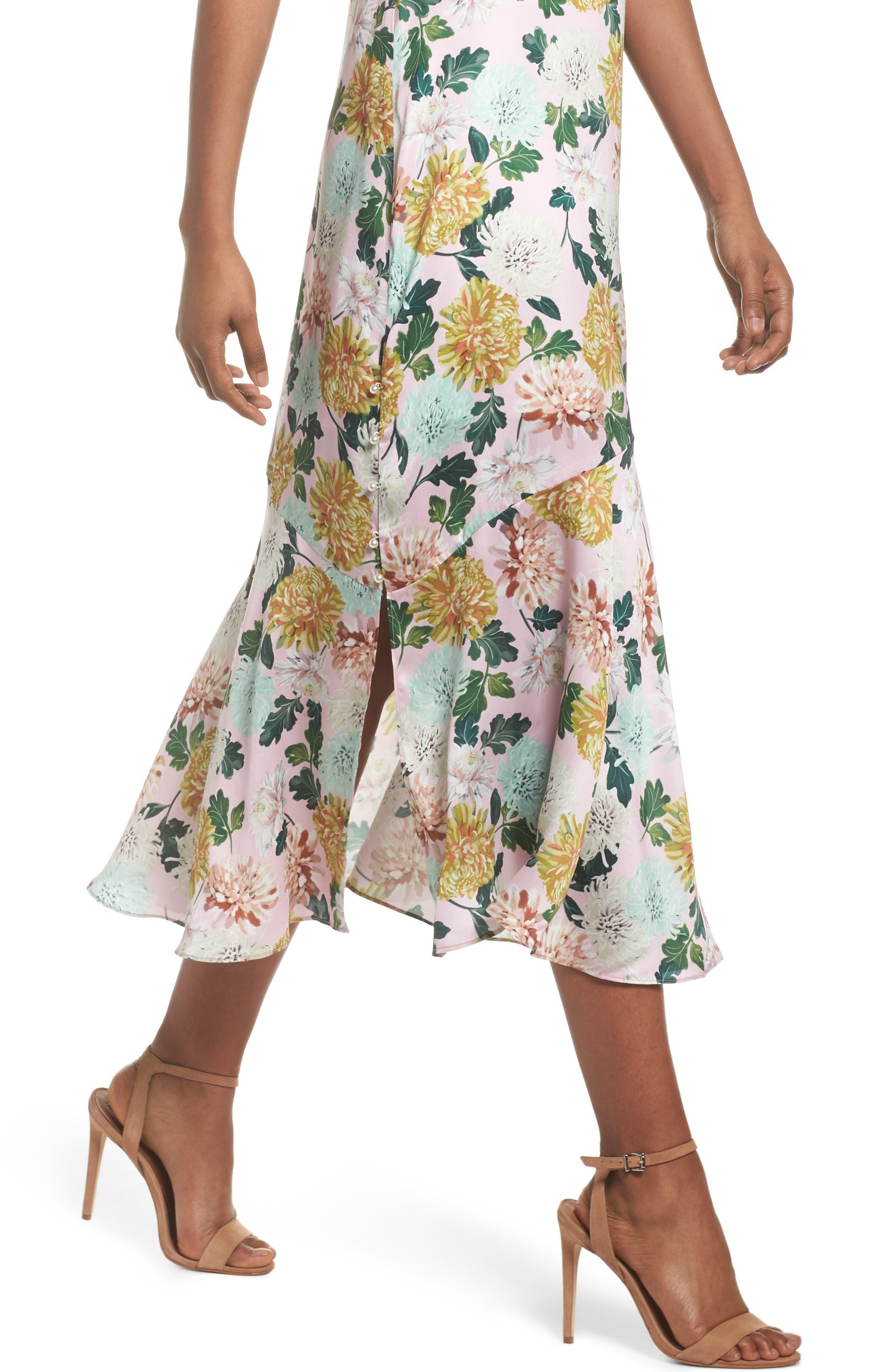 Vintage Floral Midi Dress,                             Alternate thumbnail 4, color,                             PINK MULTI