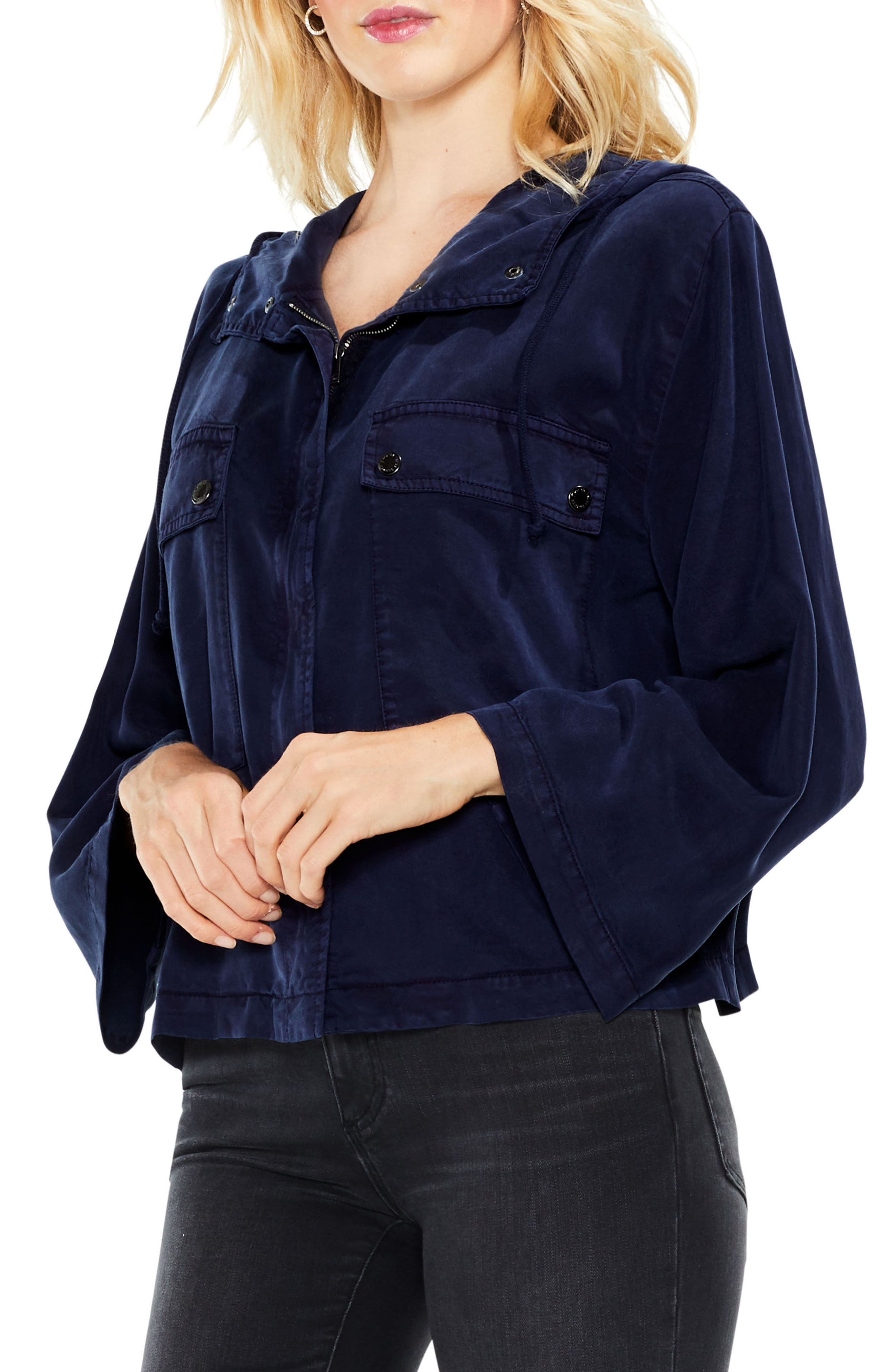Bell Sleeve Hooded Jacket,                             Alternate thumbnail 2, color,