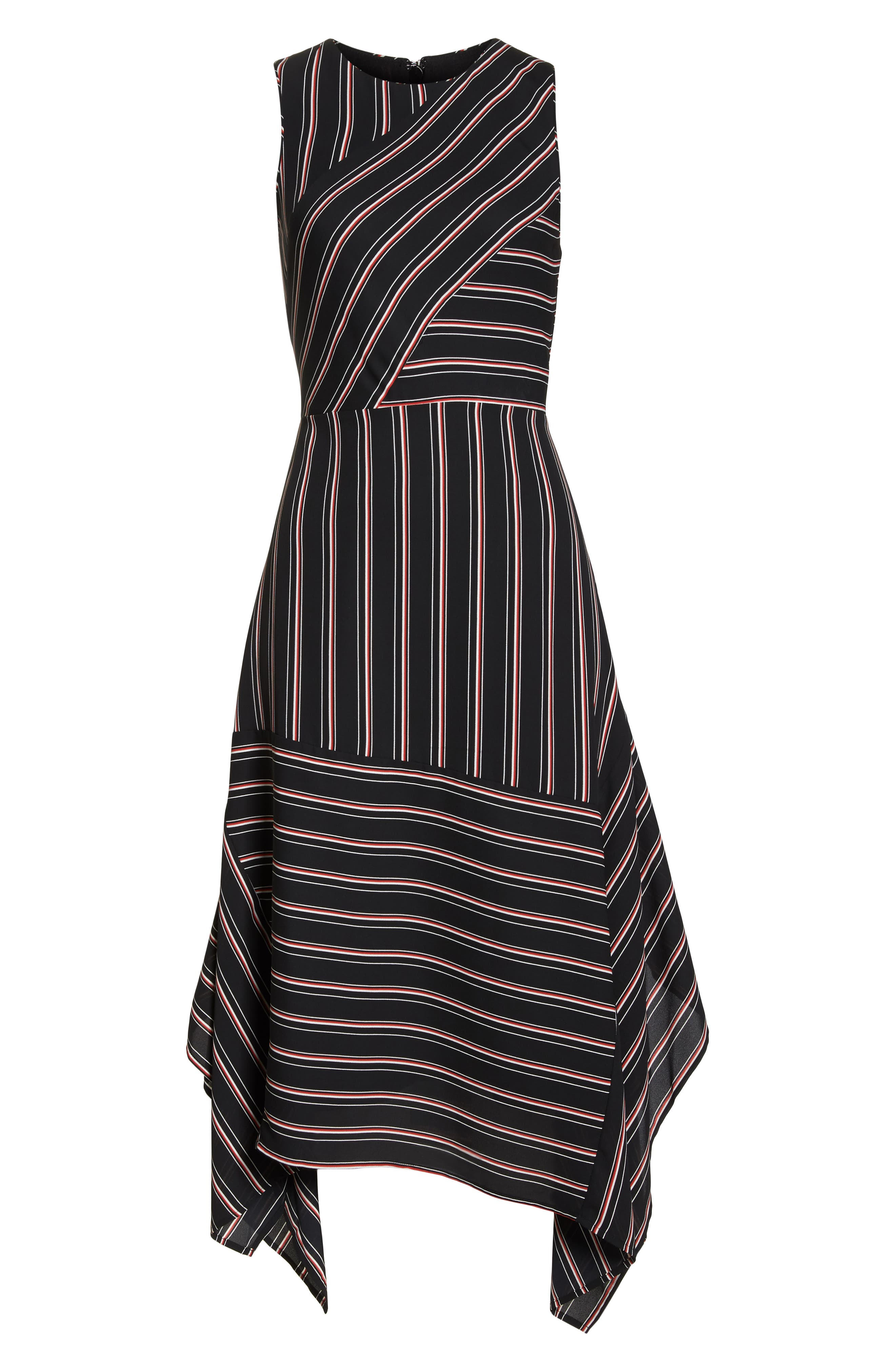 Mix Stripe Midi Dress,                             Alternate thumbnail 6, color,                             BLACK STRIPE MIX COMBO