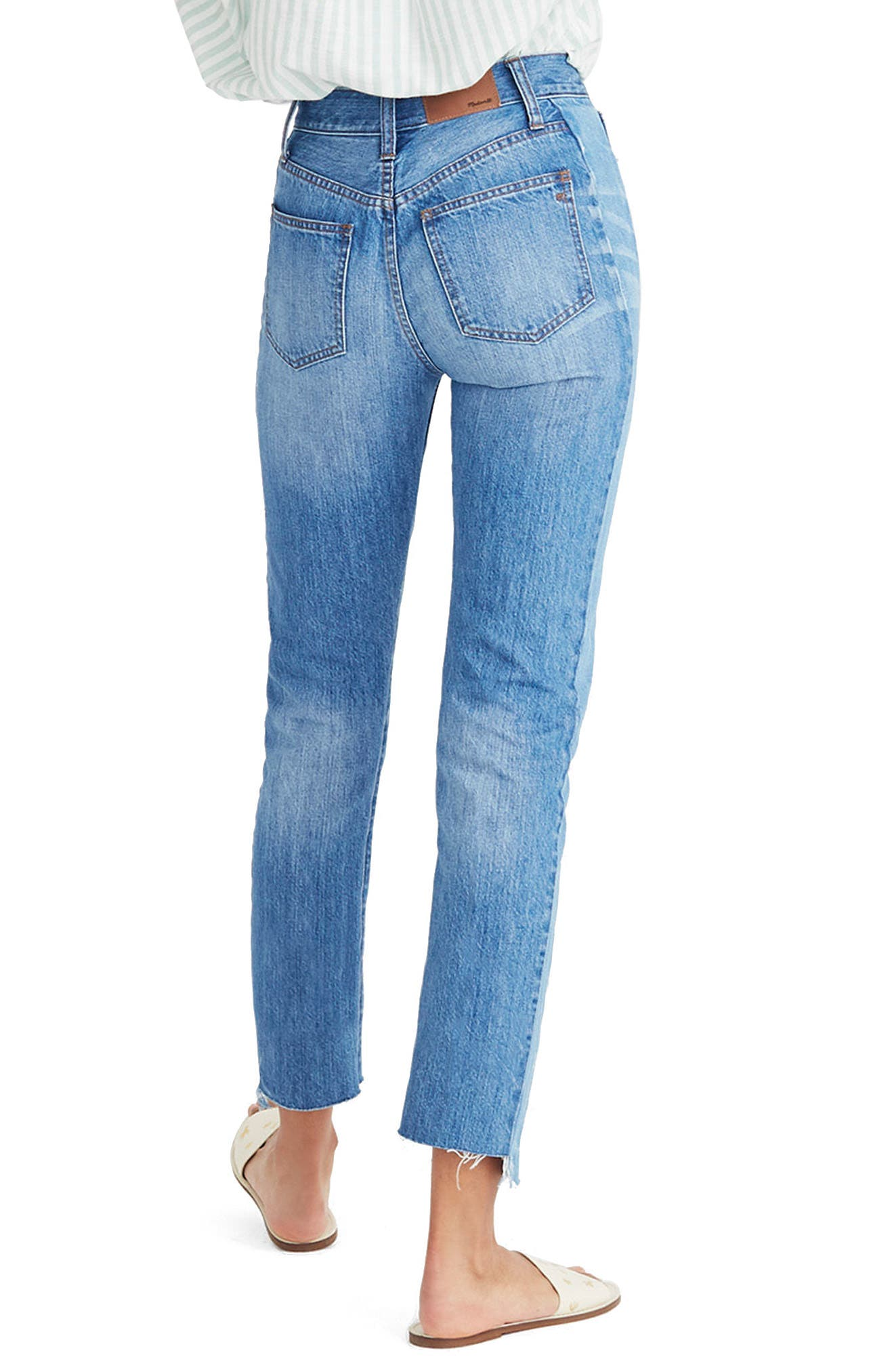 Perfect Summer High Waist Pieced Jeans,                             Alternate thumbnail 2, color,                             OAKDALE WASH