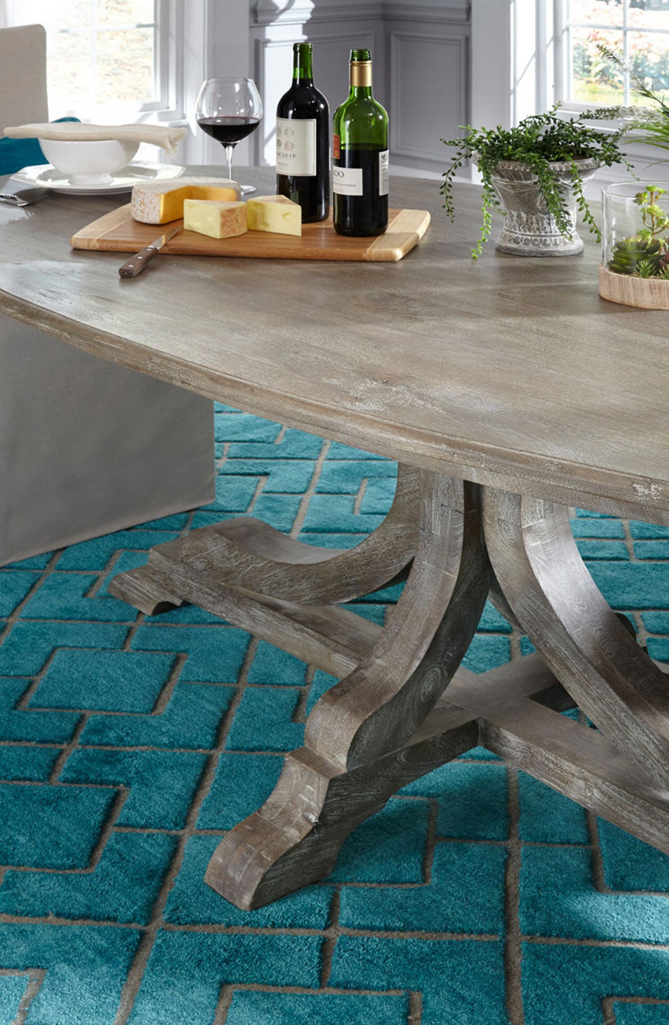 VILLA HOME COLLECTION,                             'Over Tufted - Turquoise' Rug,                             Alternate thumbnail 4, color,                             440