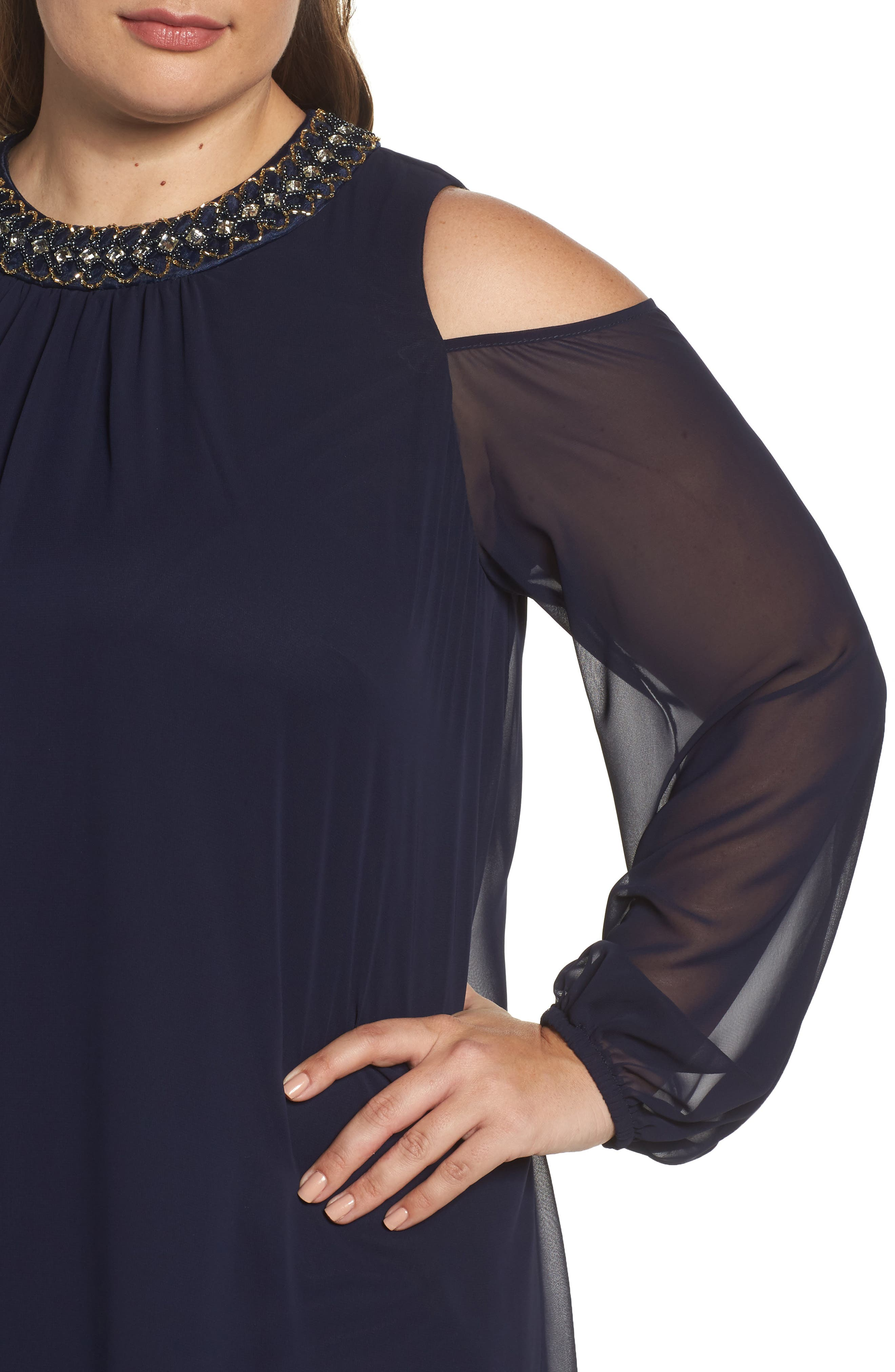 Embellished Cold Shoulder Shift Dress,                             Alternate thumbnail 4, color,                             NAVY/ GOLD
