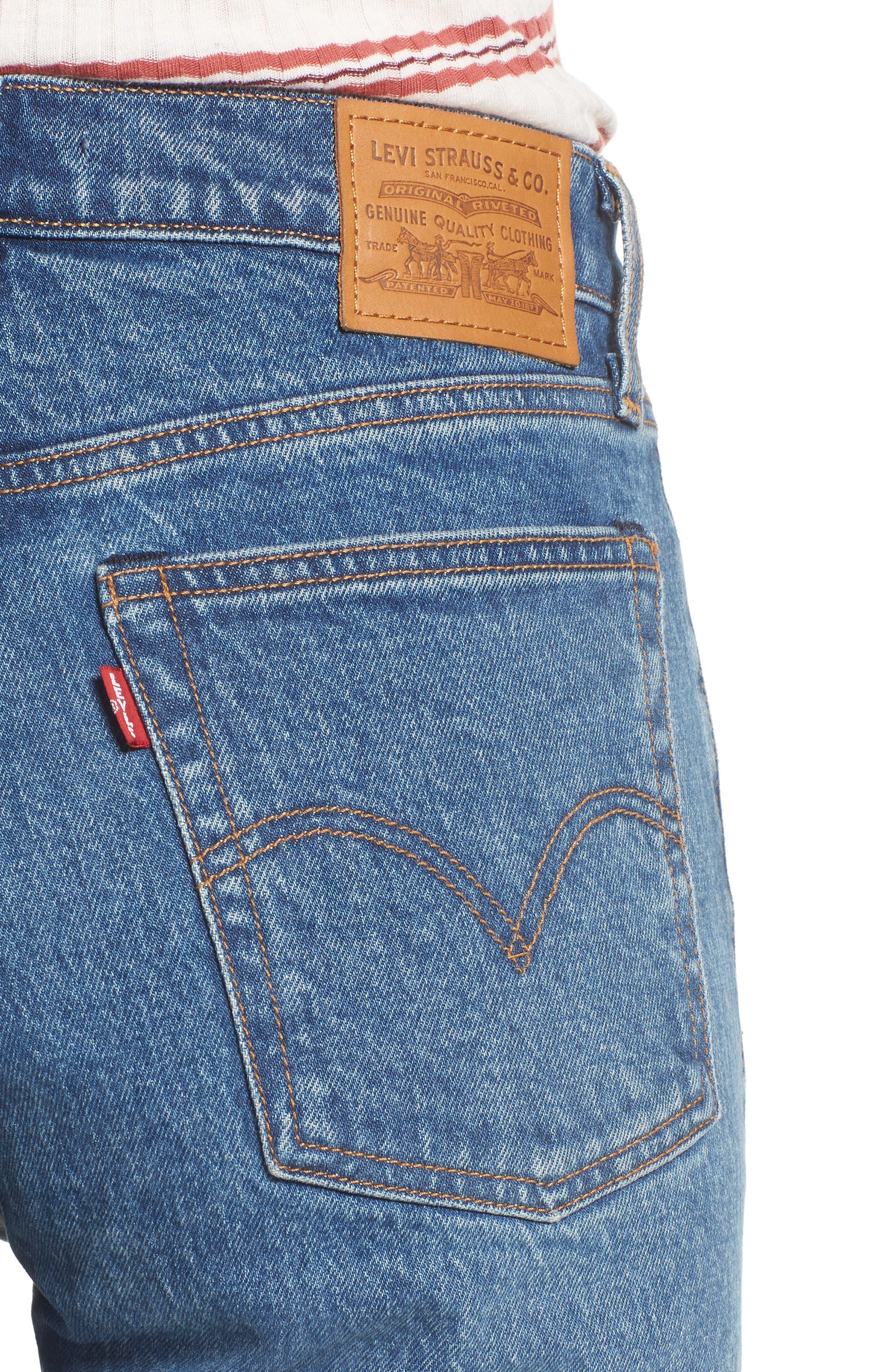 Wedgie Raw Hem High Waist Straight Leg Jeans,                             Alternate thumbnail 4, color,                             LOVE TRIANGLE