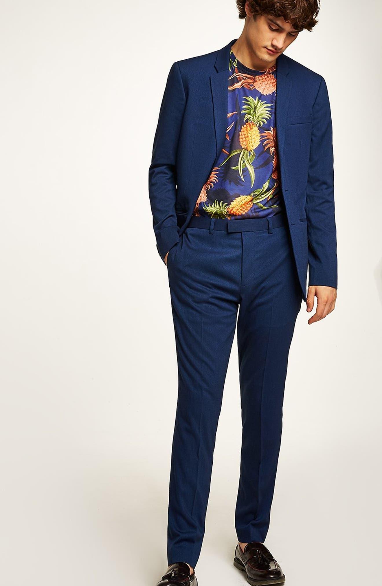 Skinny Fit Suit Jacket,                             Alternate thumbnail 8, color,                             BLUE