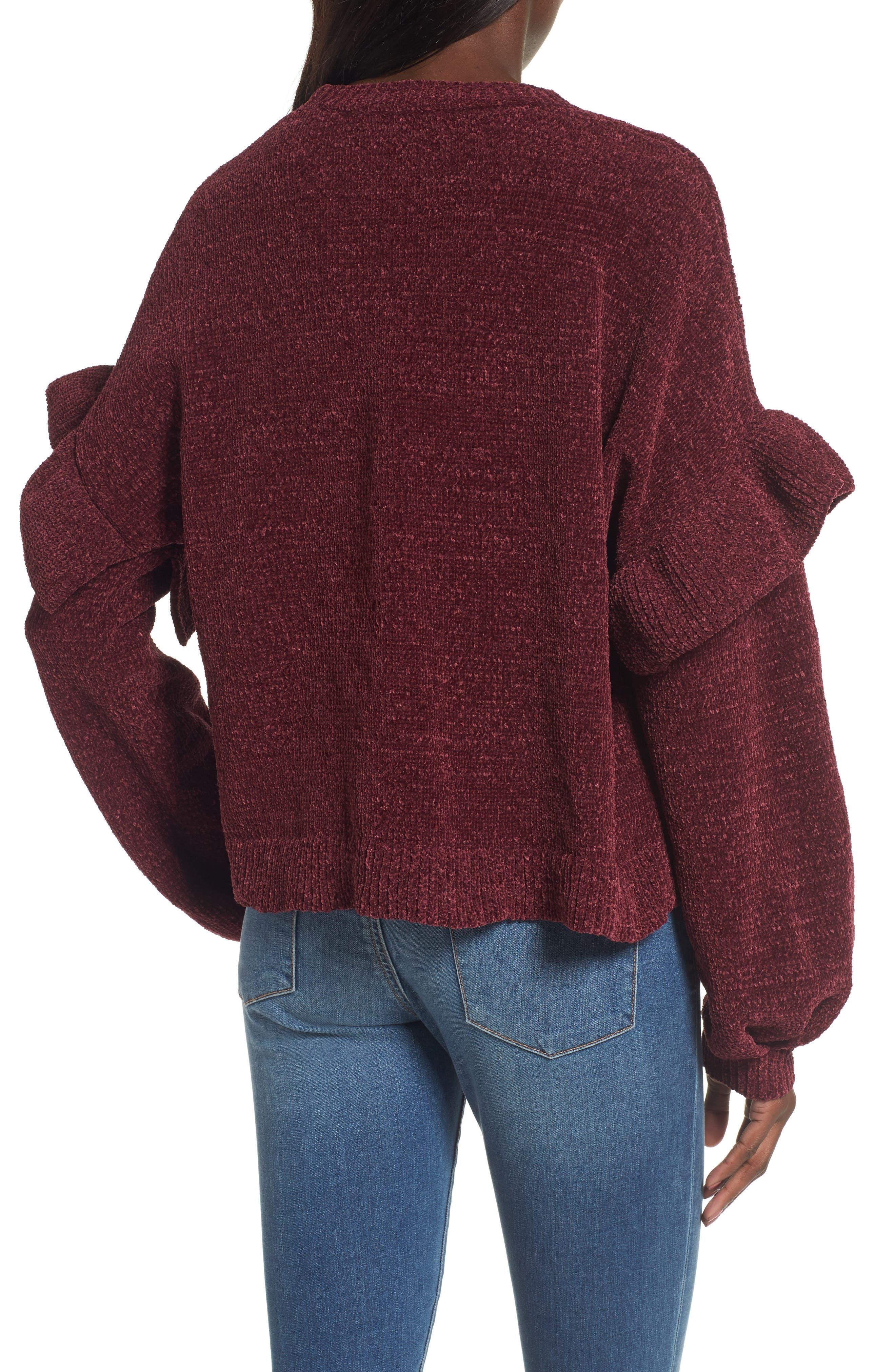 Ruffle Chenille Sweater,                             Alternate thumbnail 4, color,