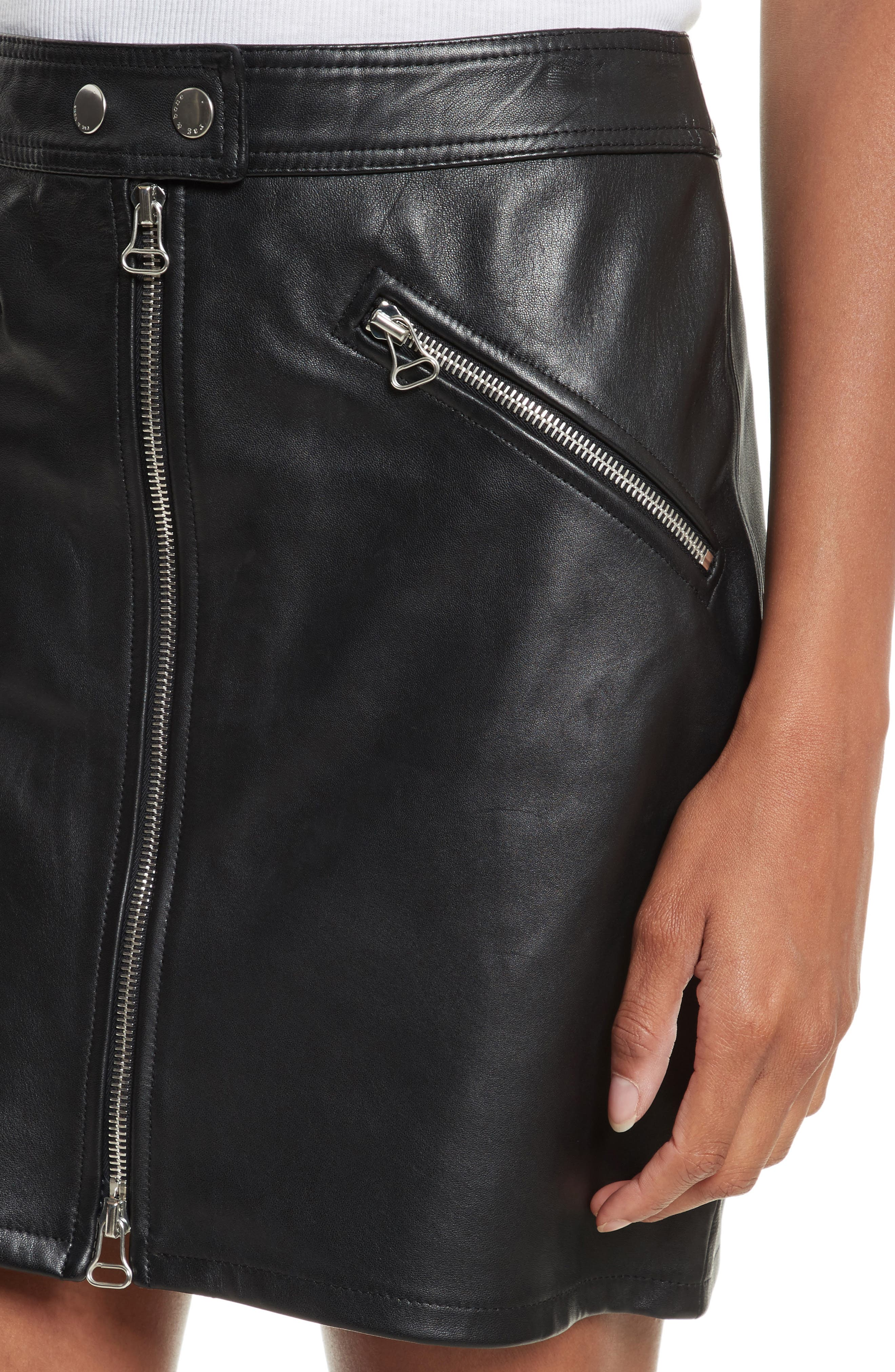 Racer Leather Miniskirt,                             Alternate thumbnail 4, color,                             002