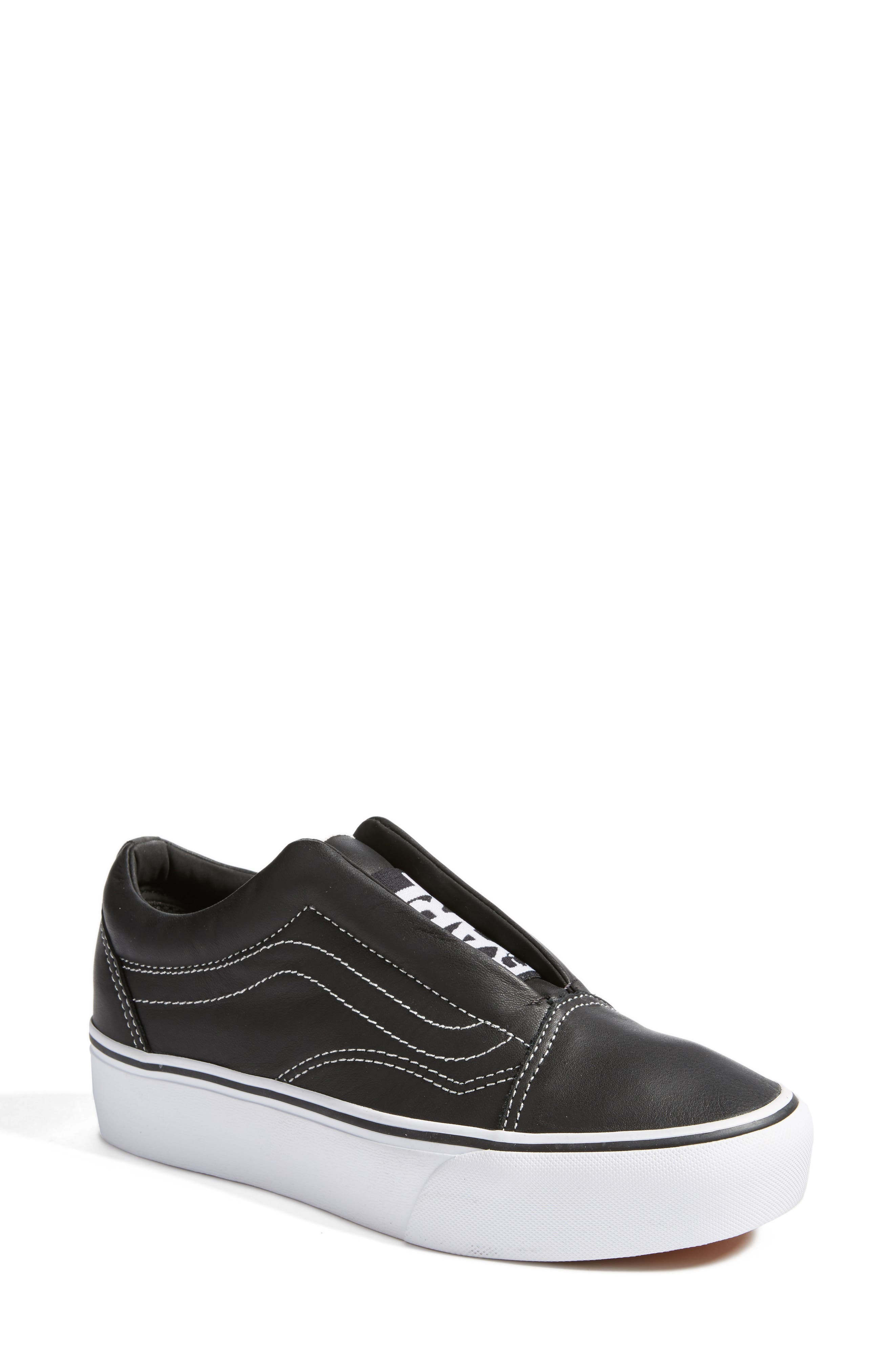 VANS,                             x KARL LAGERFELD Old Skool Leather Platform Sneaker,                             Main thumbnail 1, color,                             001