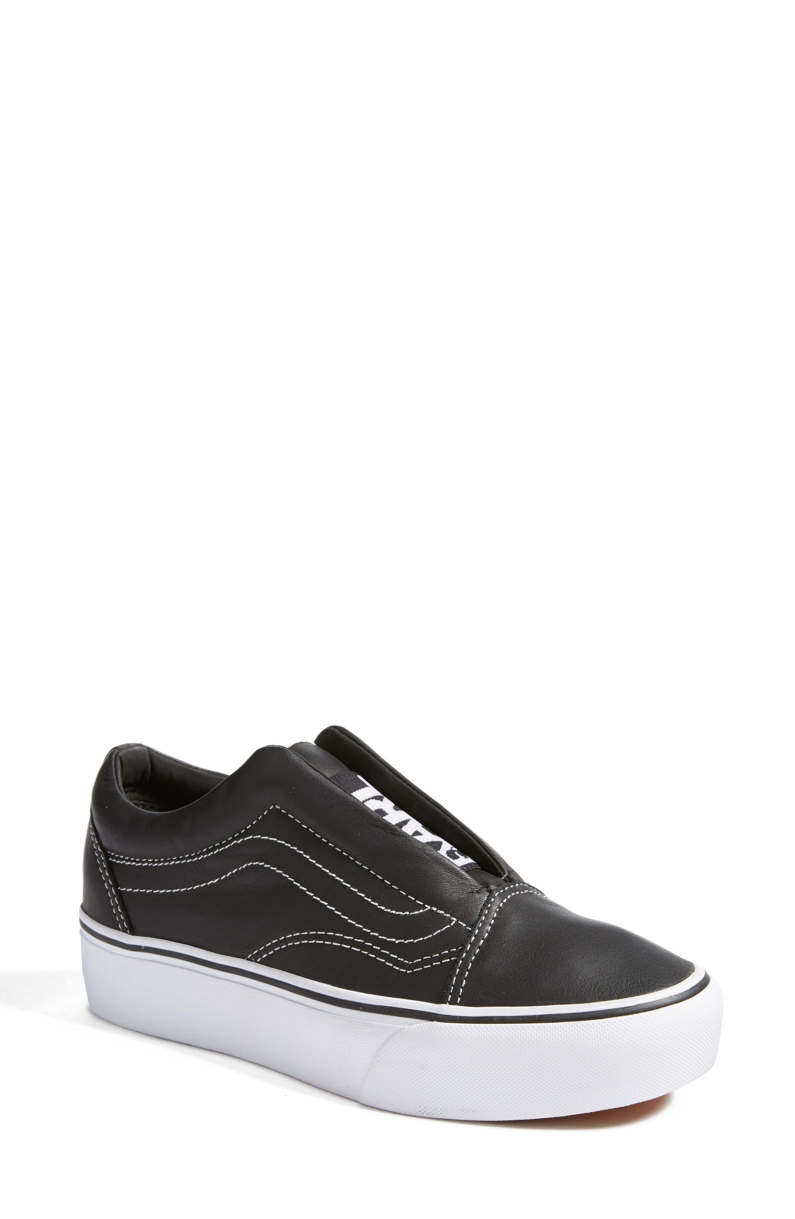 VANS x KARL LAGERFELD Old Skool Leather Platform Sneaker, Main, color, 001