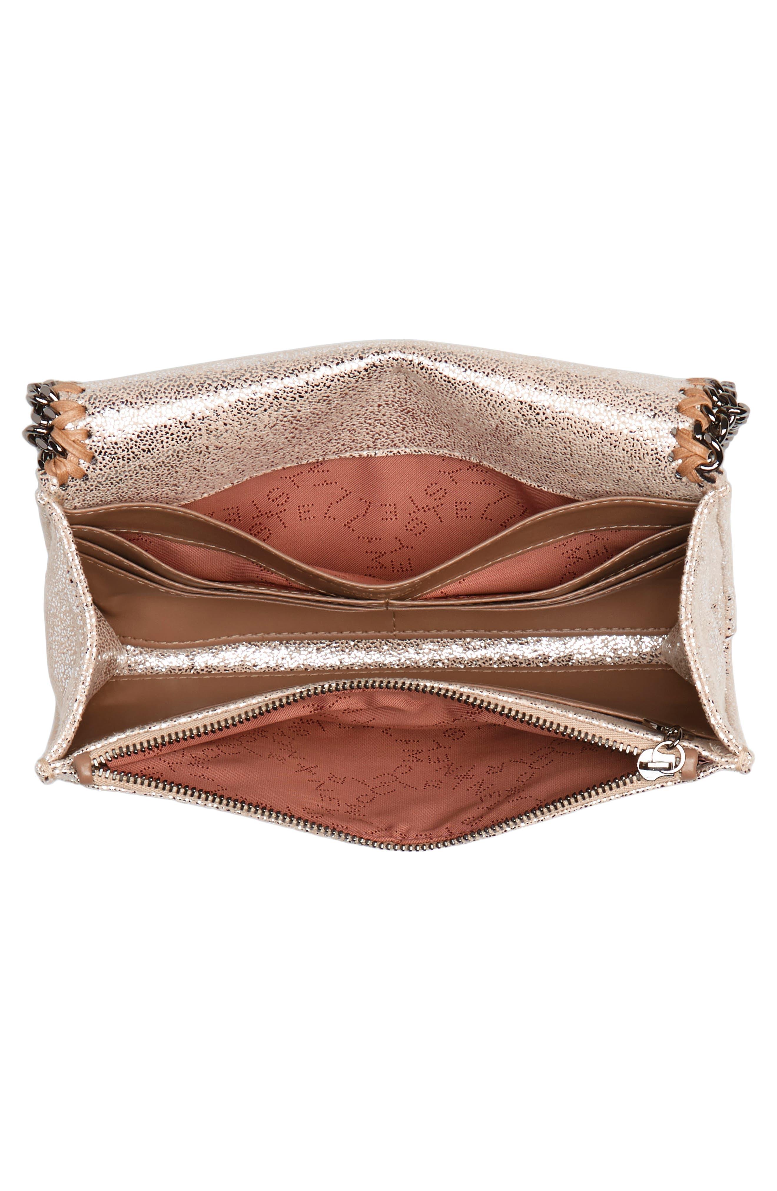 Falabella Metallic Faux Chamois Crossbody Bag,                             Alternate thumbnail 8, color,