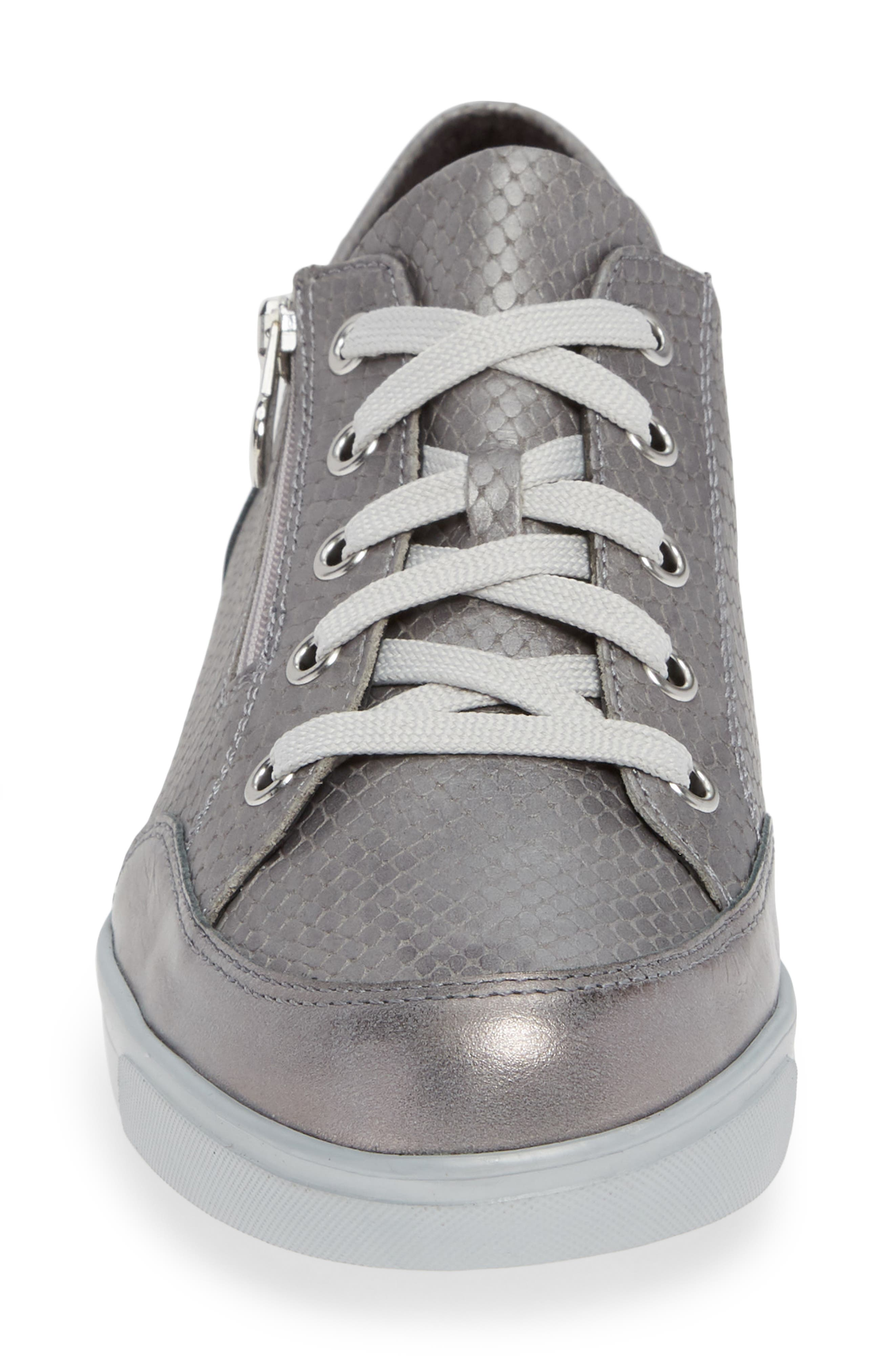 Gabbie Sneaker,                             Alternate thumbnail 4, color,                             LIGHT GREY LEATHER