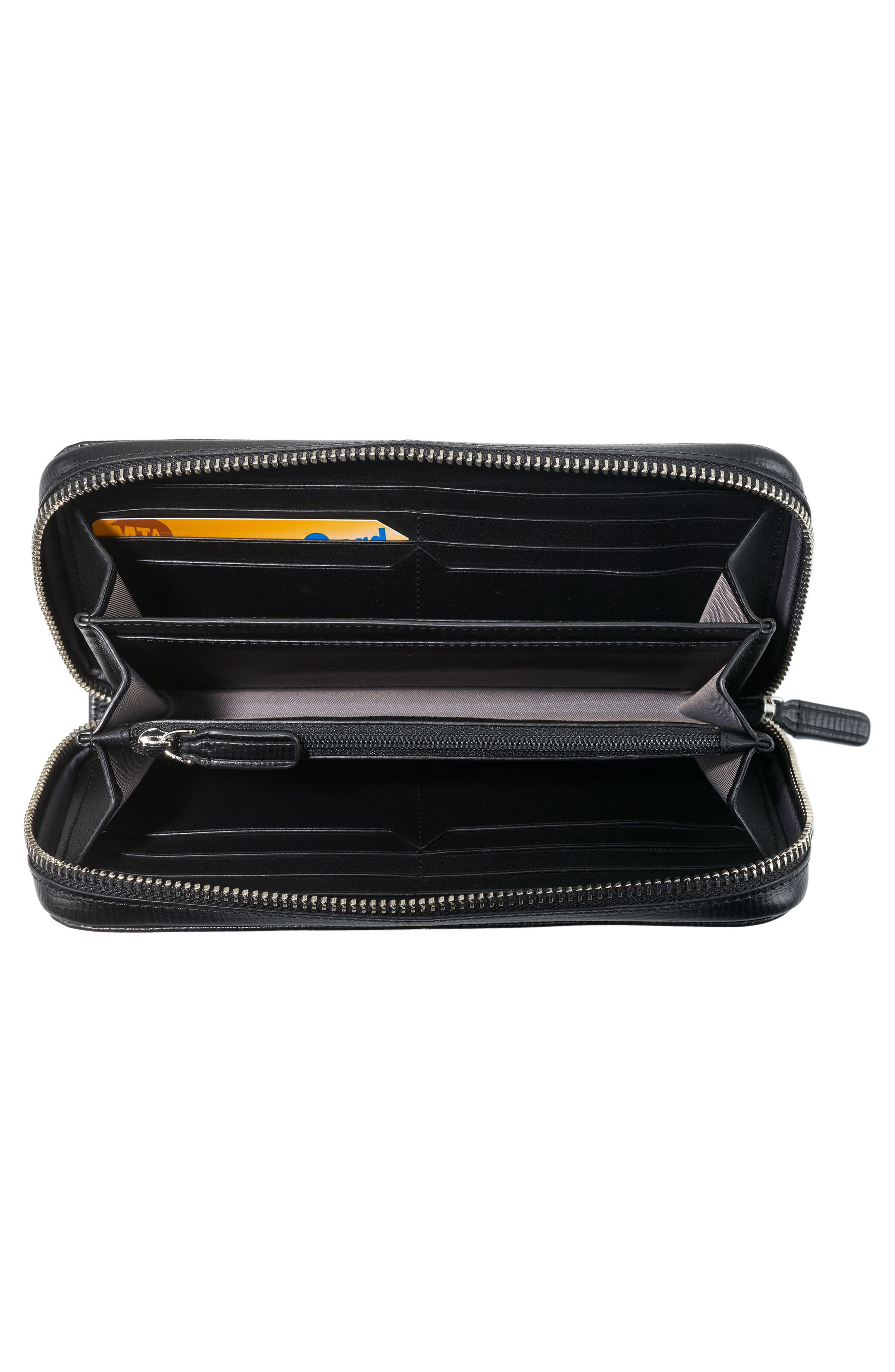 Zip-Around Leather Travel Wallet,                             Alternate thumbnail 3, color,                             BLACK TEXTURED