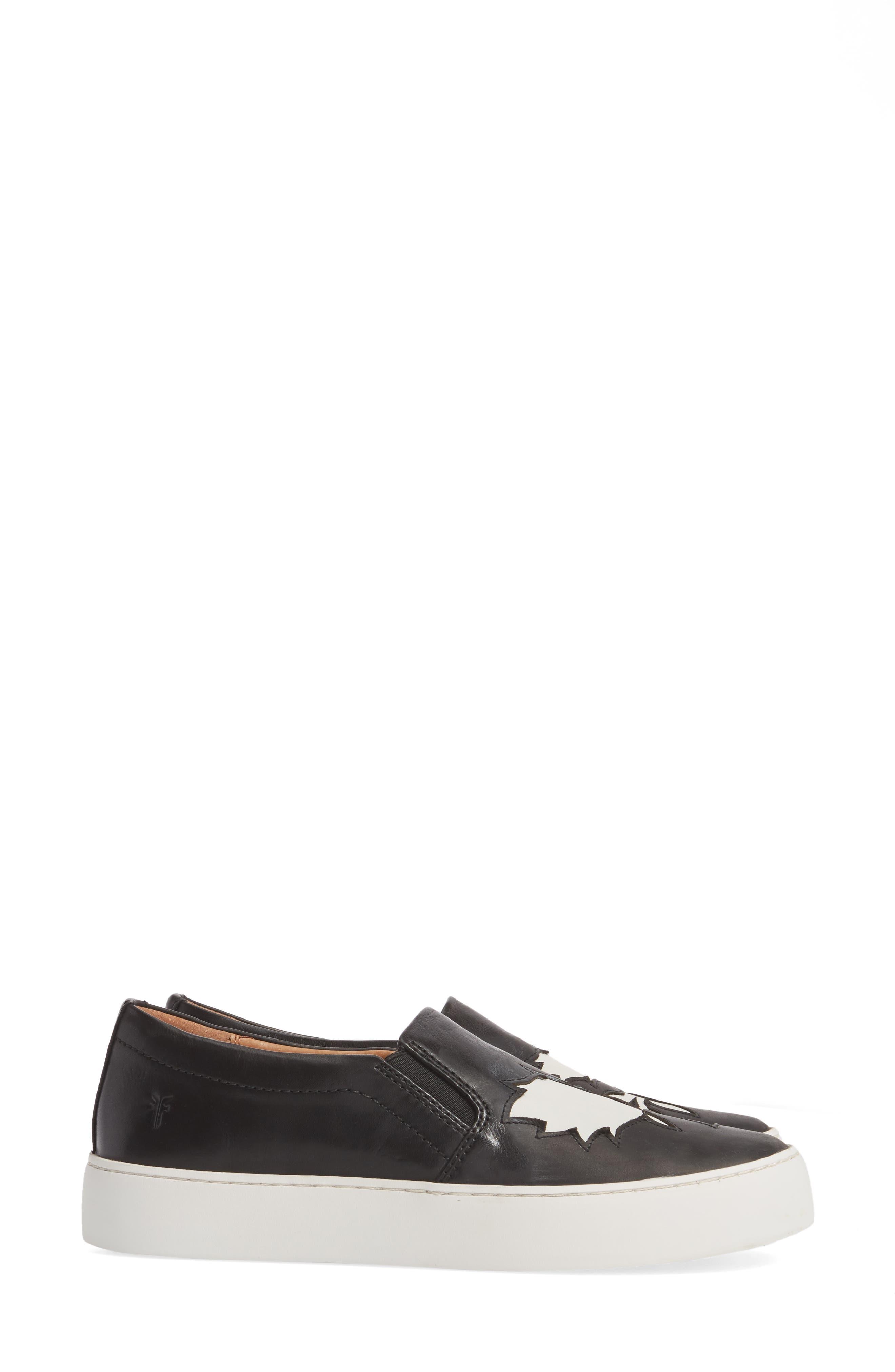 Lena Floral Slip-On Sneaker,                             Alternate thumbnail 4, color,                             001
