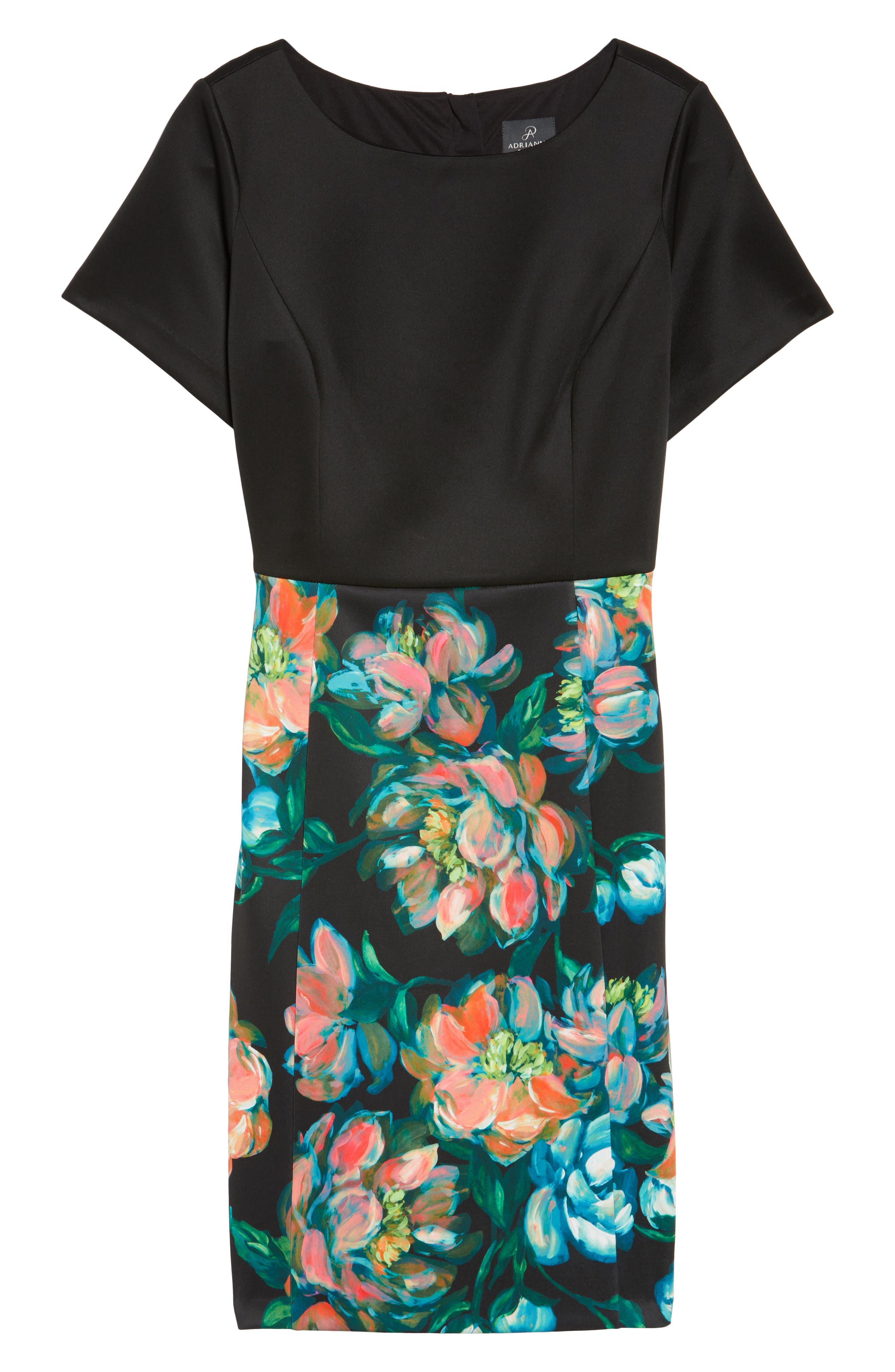 Floral Print Sheath Dress,                             Alternate thumbnail 6, color,