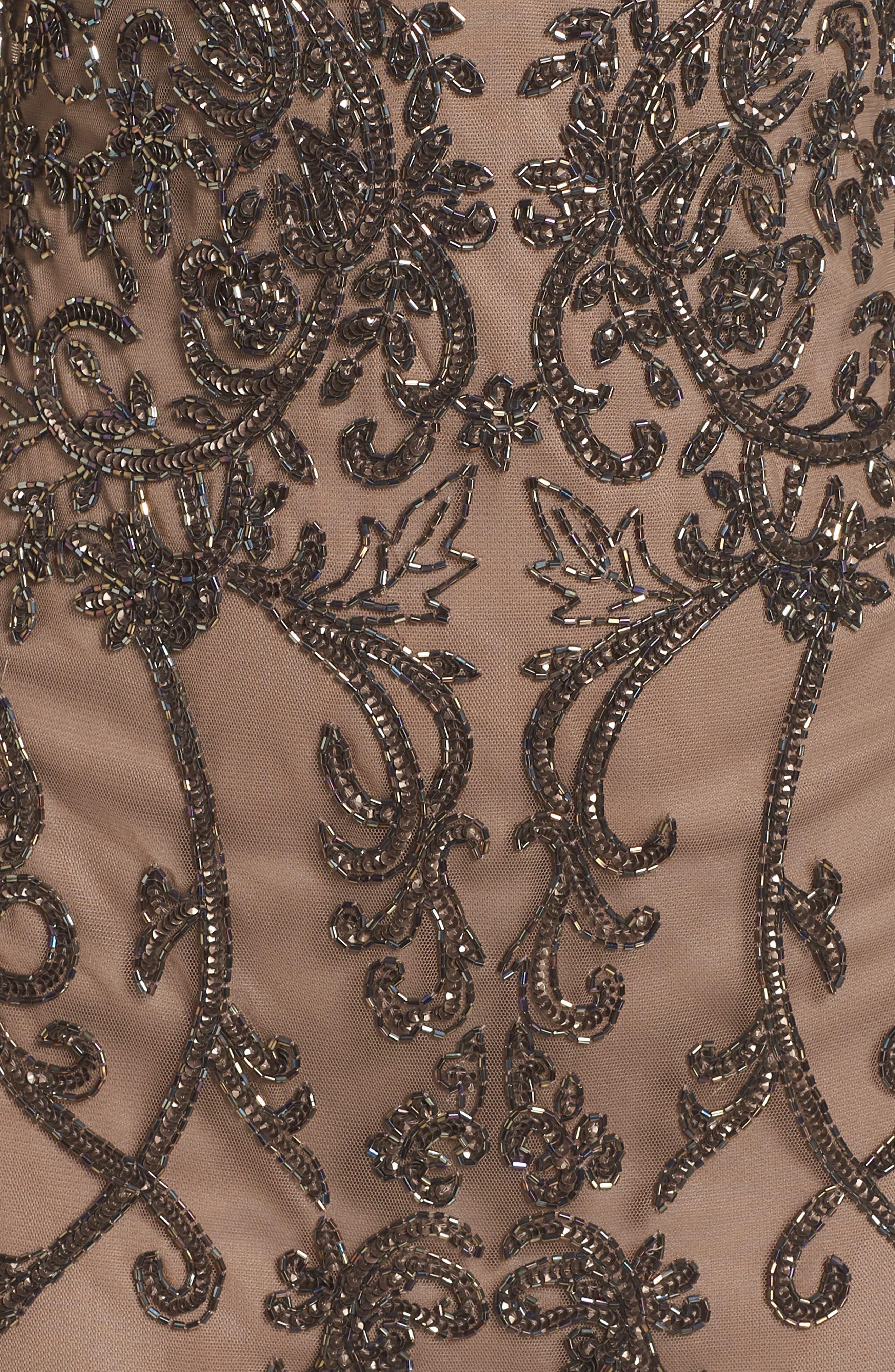 Embellished Mesh Sheath Dress,                             Alternate thumbnail 6, color,                             MOCHA