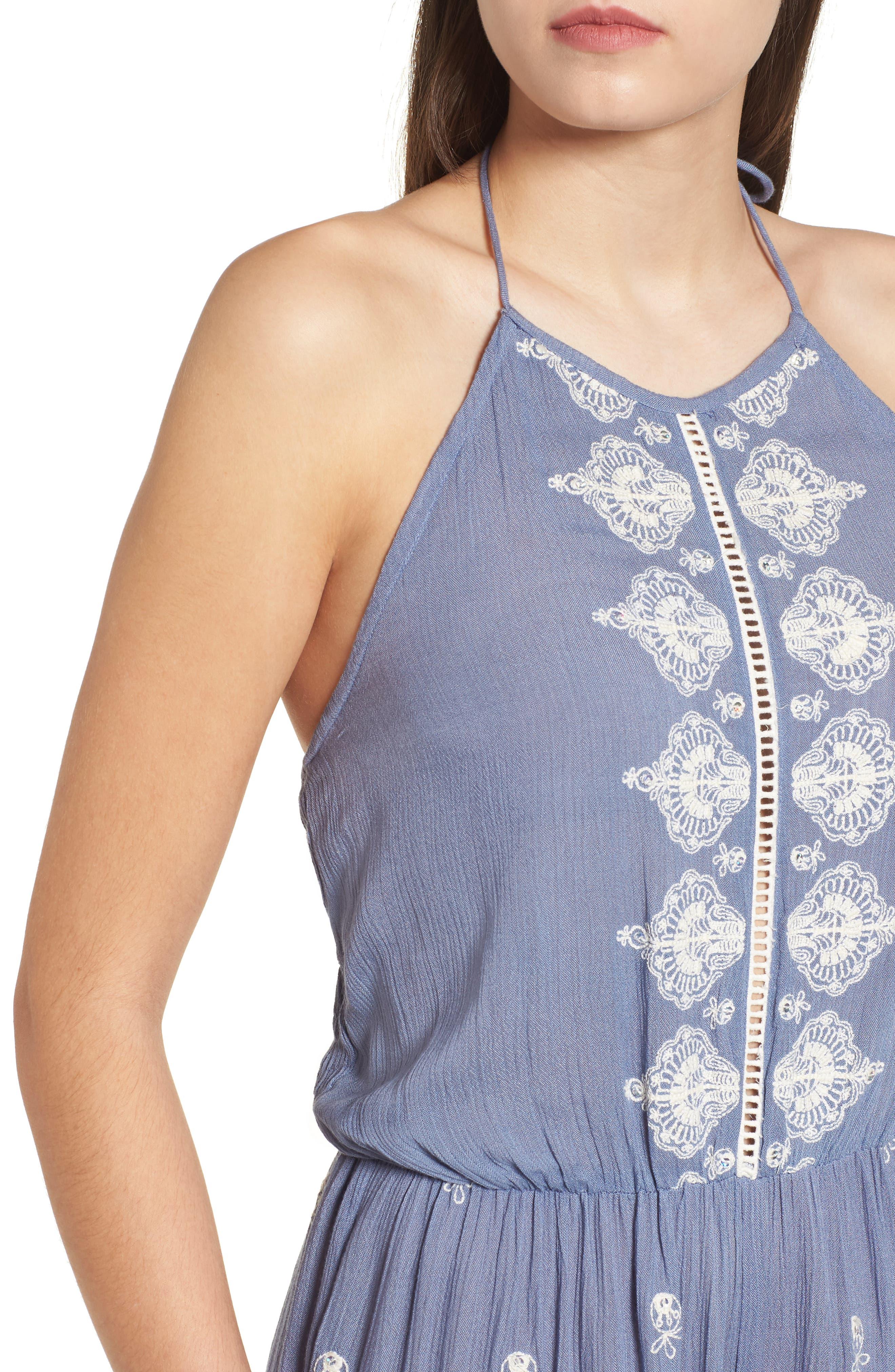 Alissa Embroidered Halter Neck Jumpsuit,                             Alternate thumbnail 4, color,