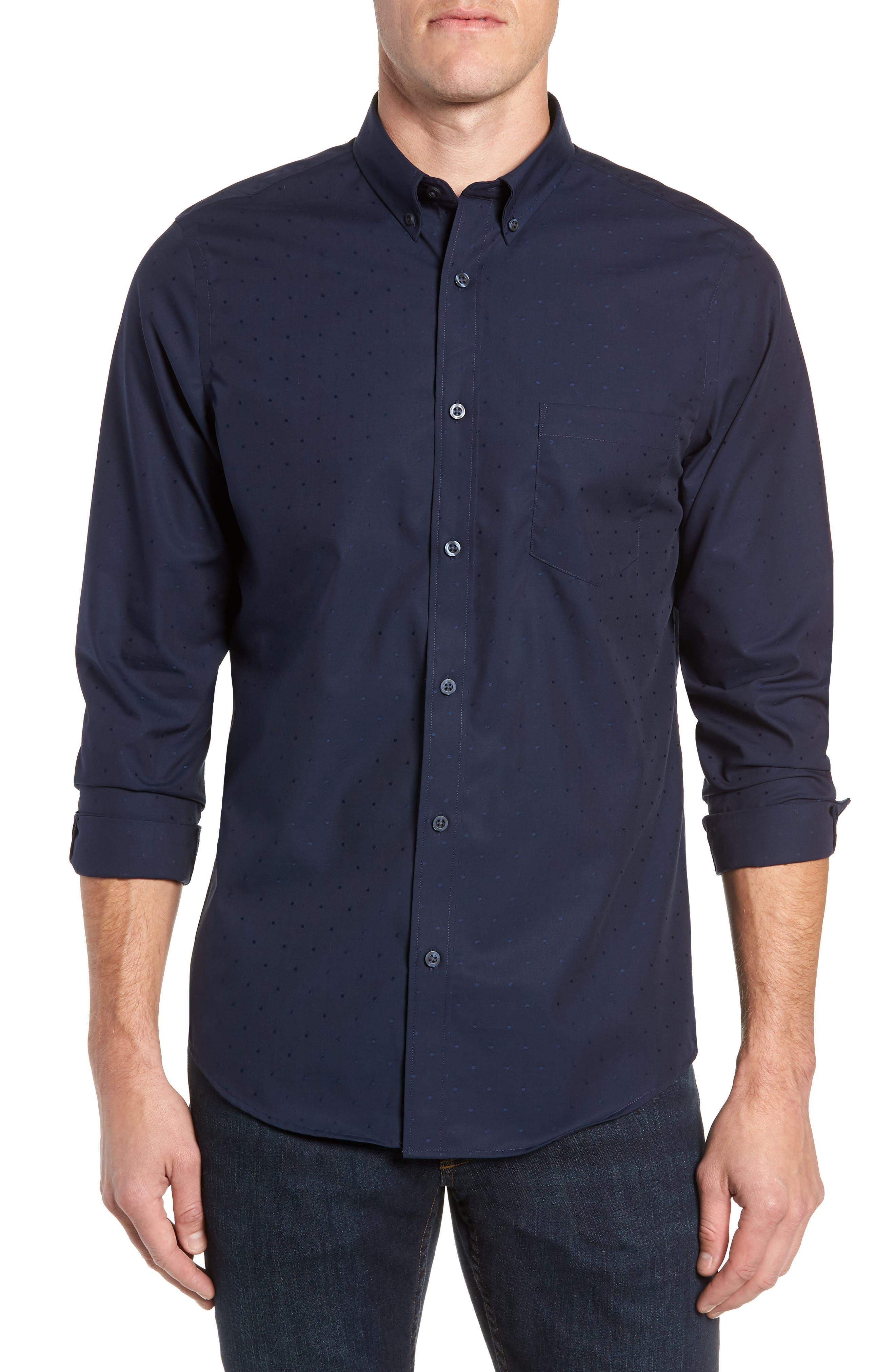 Nordstrom Shop Dobby Dot Non-Iron Sport Shirt