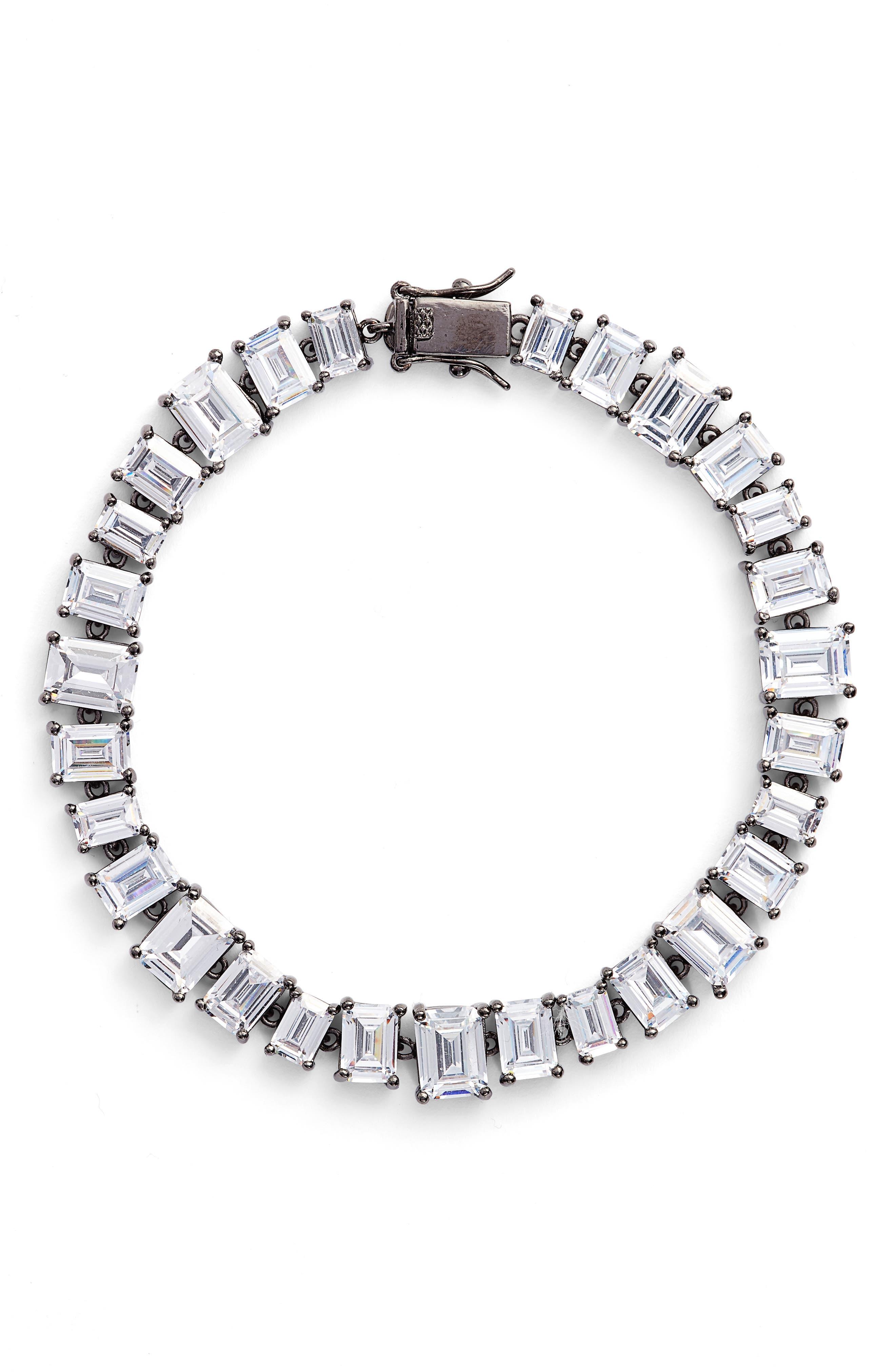 Cubic Zirconia Tennis Bracelet,                         Main,                         color,