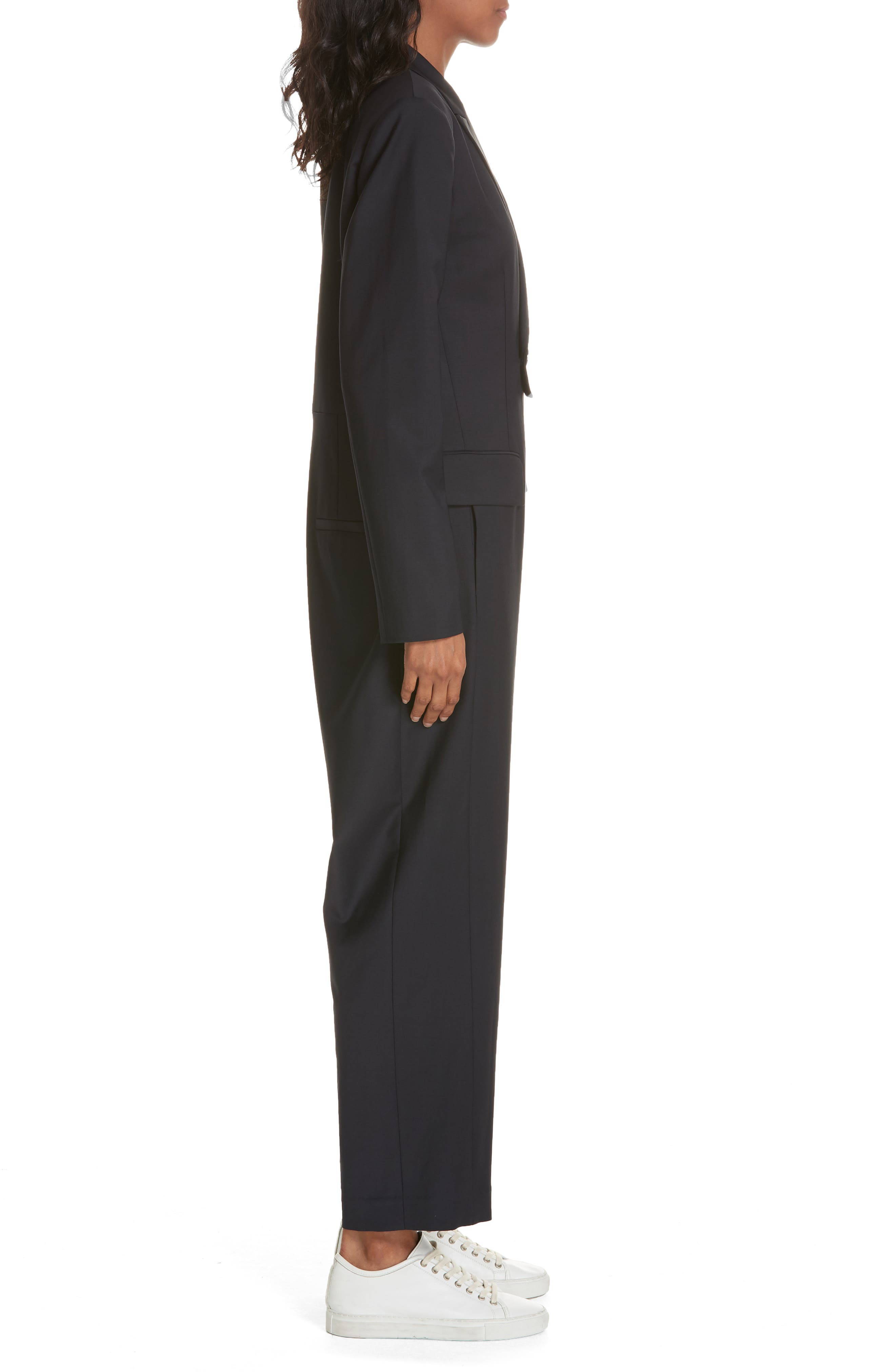 TIBI,                             Plain Weave Blazer Jumpsuit,                             Alternate thumbnail 4, color,                             DARK NAVY