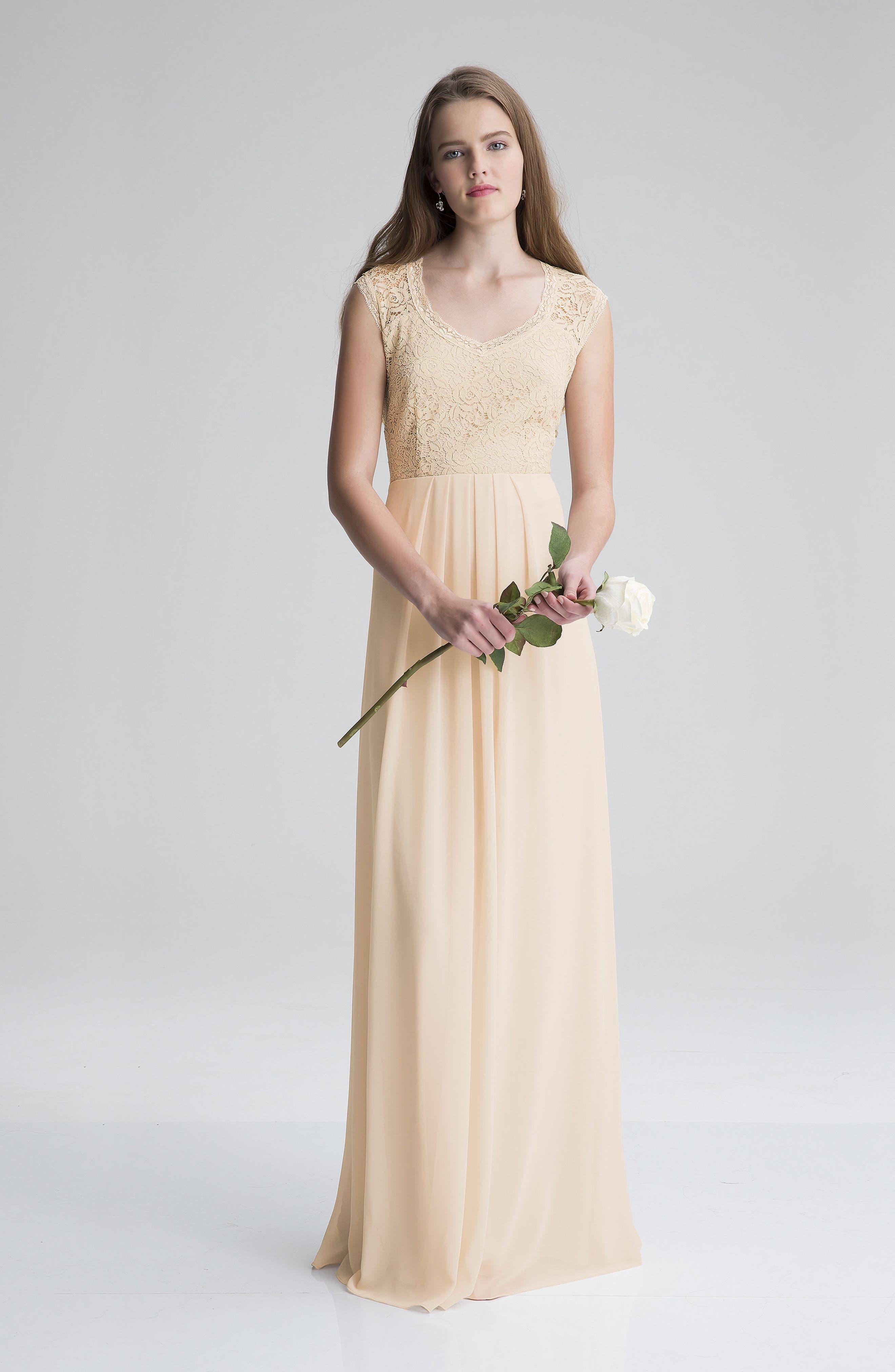 Lace Bodice A-Line Gown,                             Alternate thumbnail 7, color,